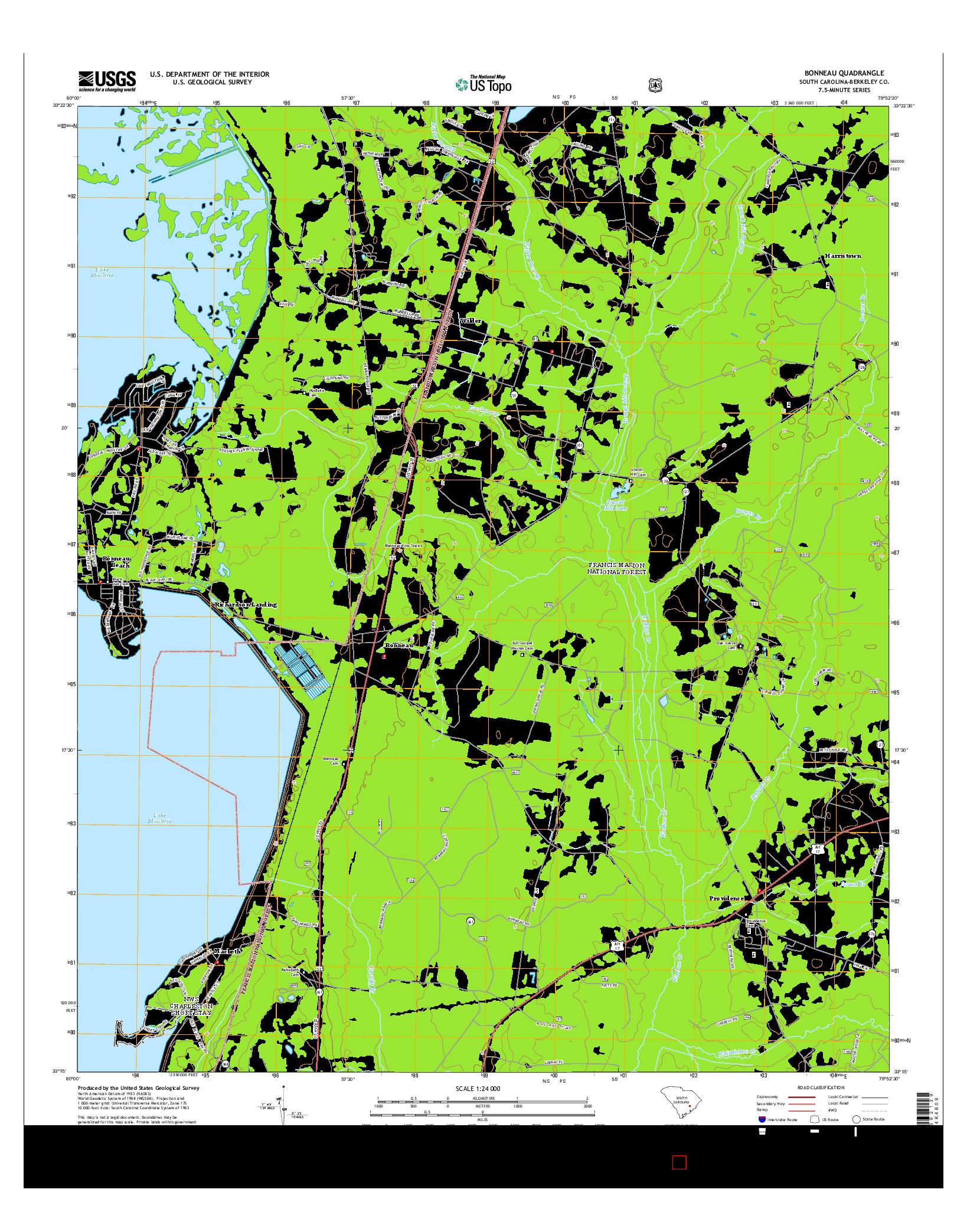 USGS US TOPO 7.5-MINUTE MAP FOR BONNEAU, SC 2014