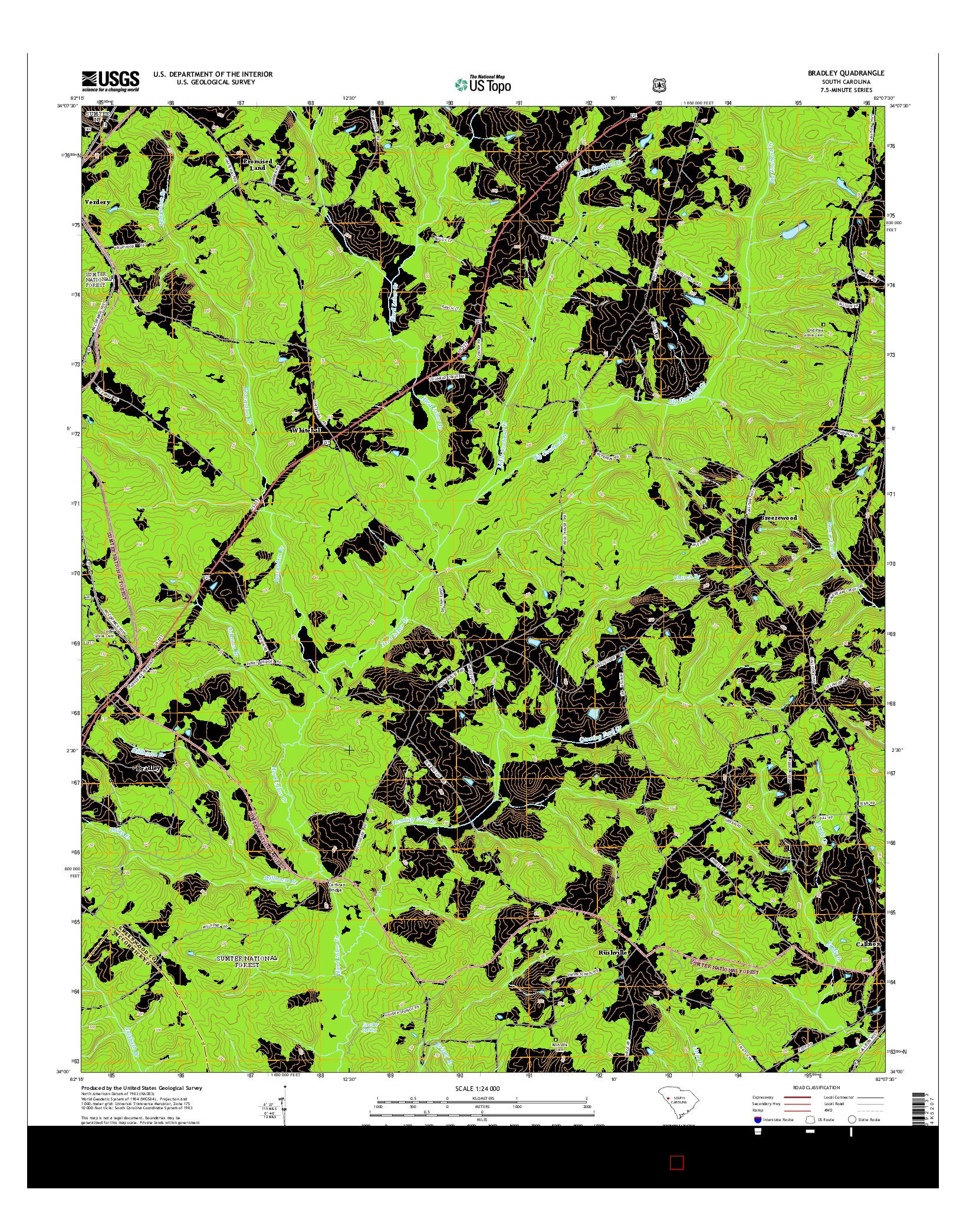 USGS US TOPO 7.5-MINUTE MAP FOR BRADLEY, SC 2014
