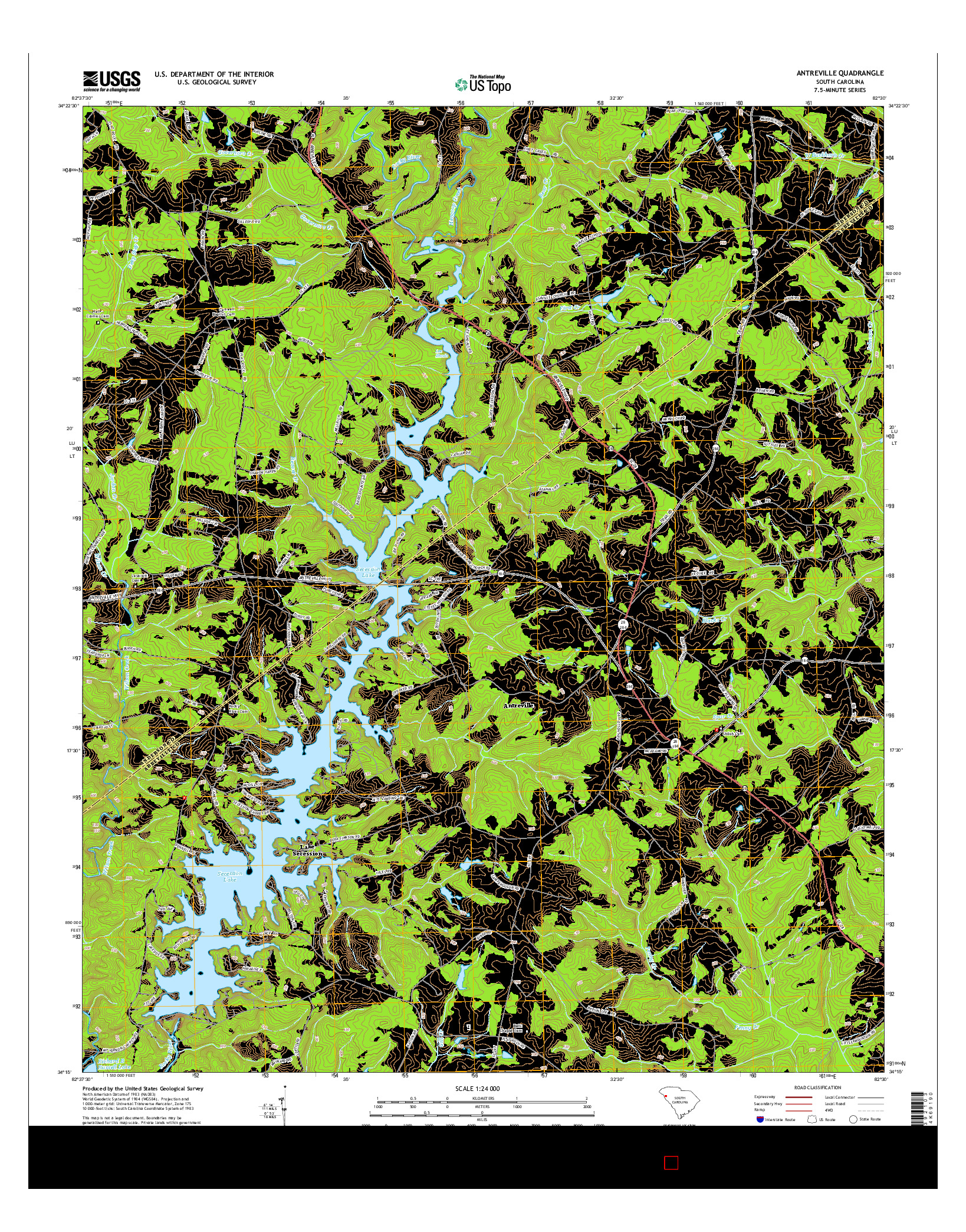 USGS US TOPO 7.5-MINUTE MAP FOR ANTREVILLE, SC 2014