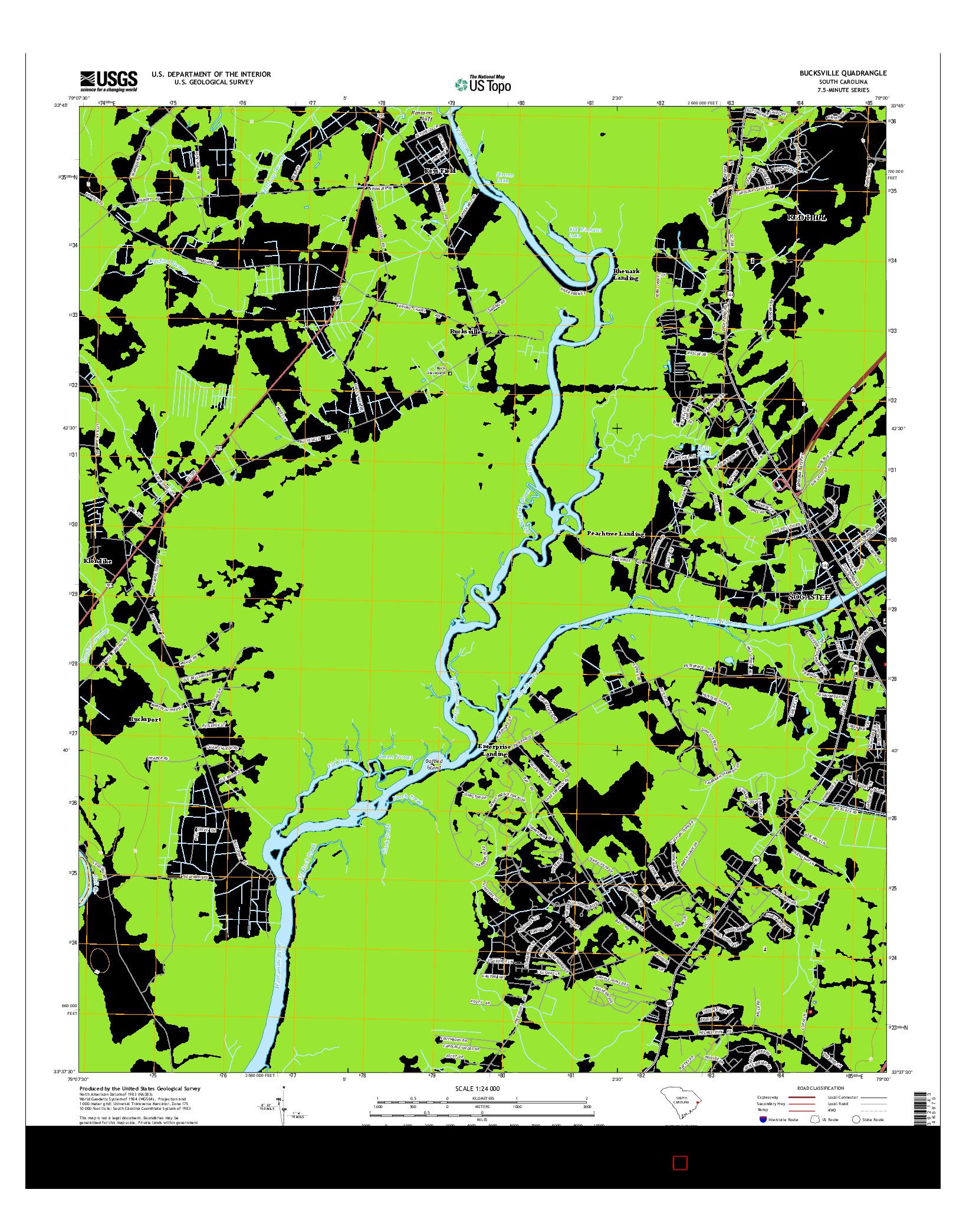 USGS US TOPO 7.5-MINUTE MAP FOR BUCKSVILLE, SC 2014