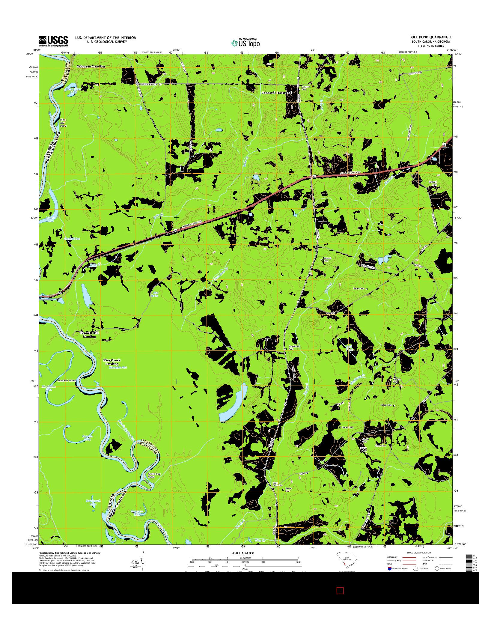 USGS US TOPO 7.5-MINUTE MAP FOR BULL POND, SC-GA 2014