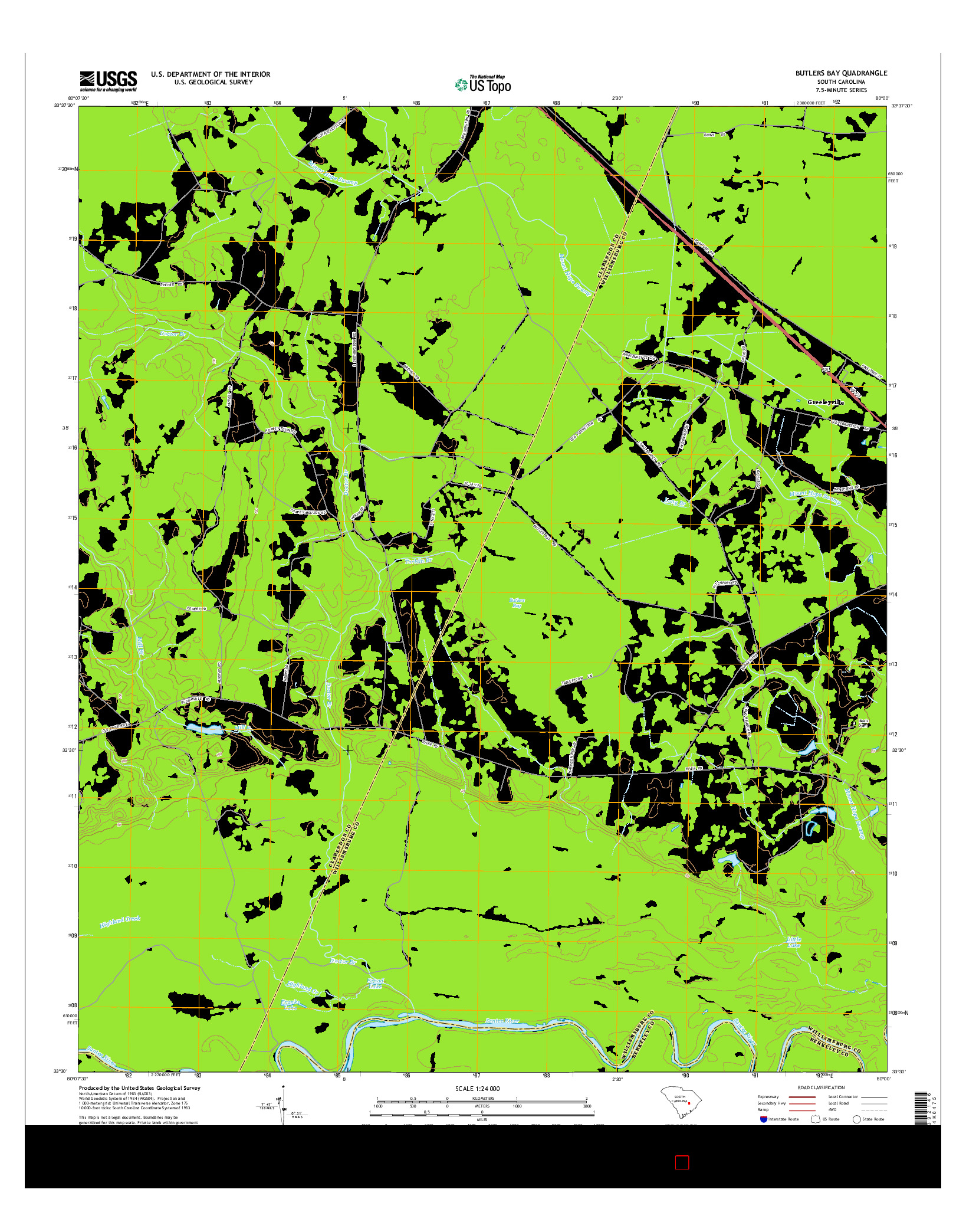 USGS US TOPO 7.5-MINUTE MAP FOR BUTLERS BAY, SC 2014