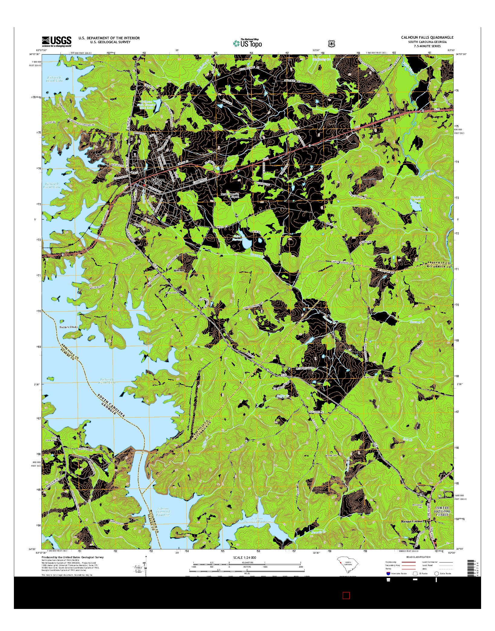 USGS US TOPO 7.5-MINUTE MAP FOR CALHOUN FALLS, SC-GA 2014