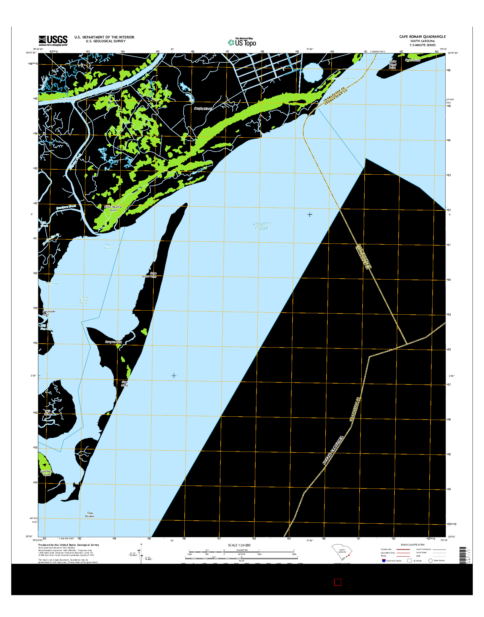USGS US TOPO 7.5-MINUTE MAP FOR CAPE ROMAIN, SC 2014