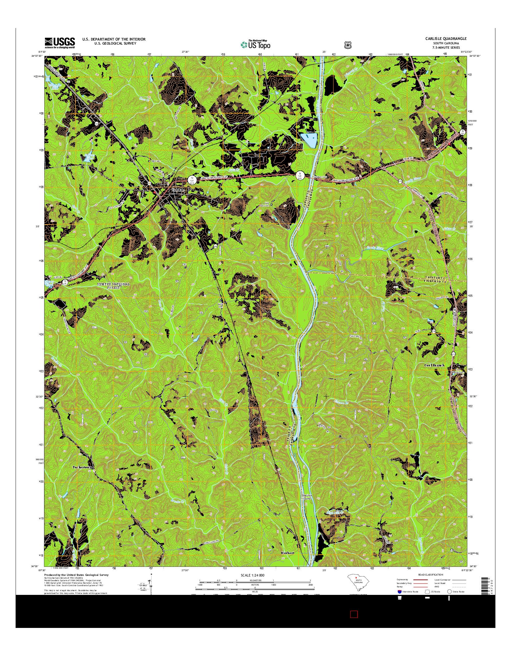 USGS US TOPO 7.5-MINUTE MAP FOR CARLISLE, SC 2014