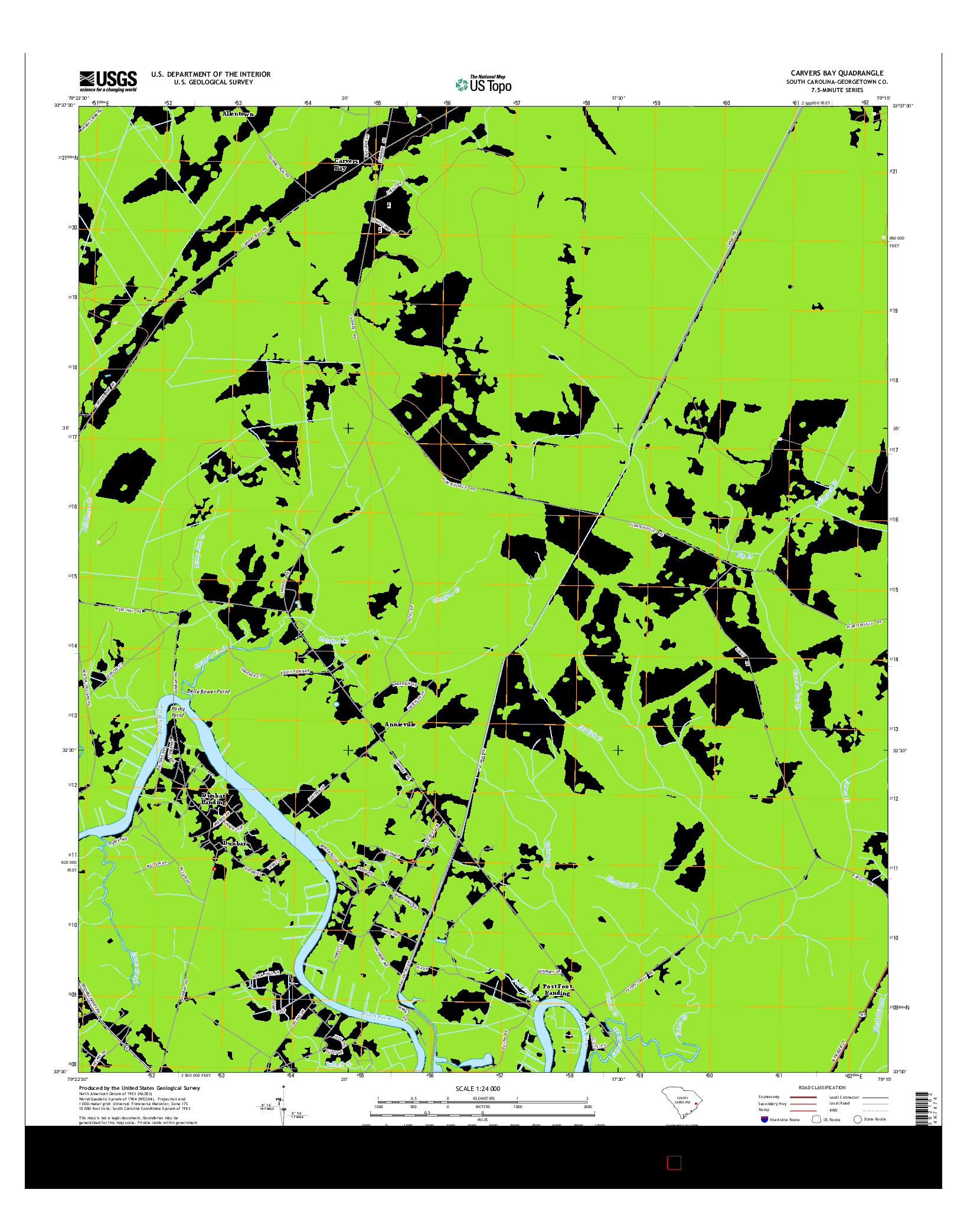 USGS US TOPO 7.5-MINUTE MAP FOR CARVERS BAY, SC 2014