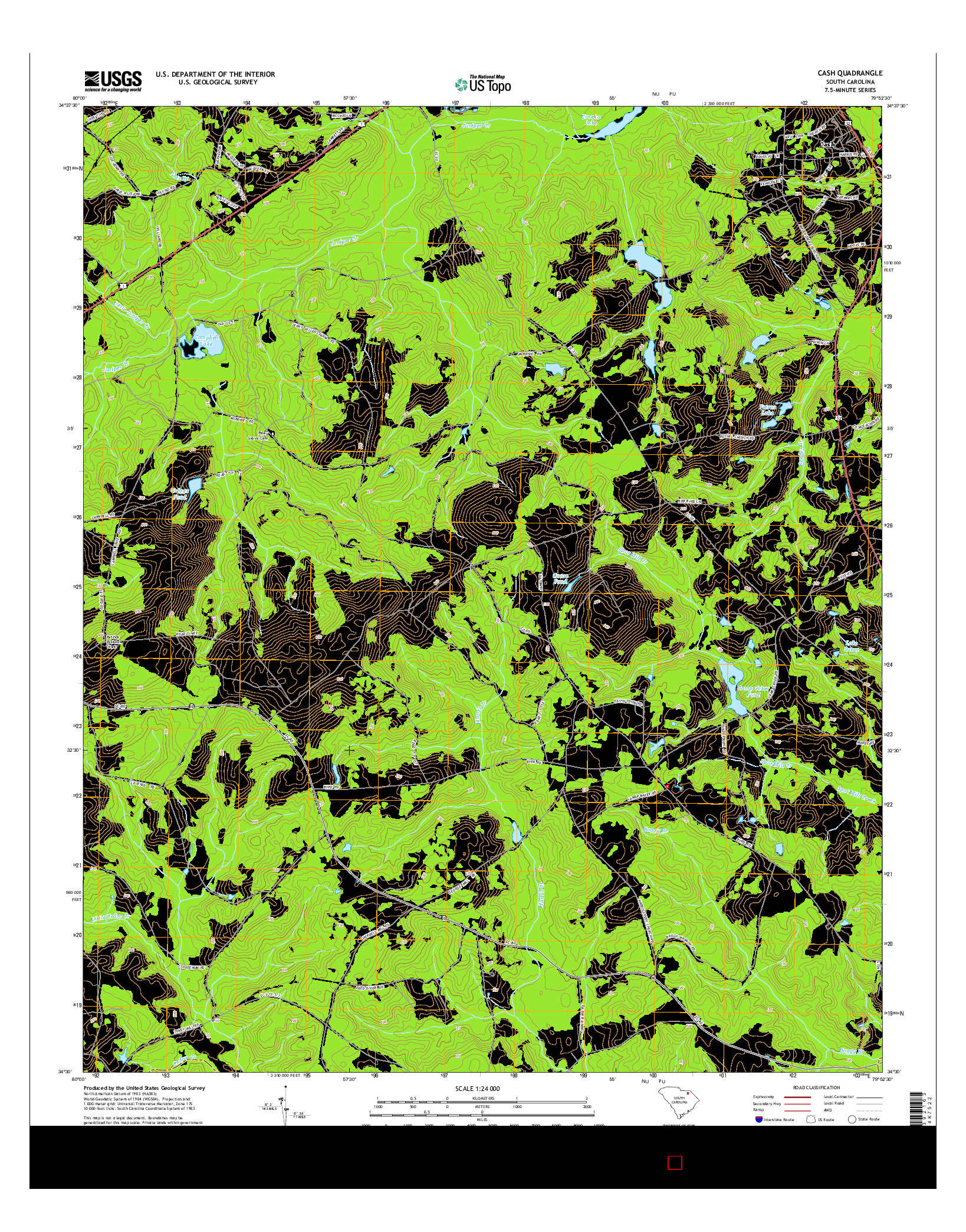 USGS US TOPO 7.5-MINUTE MAP FOR CASH, SC 2014