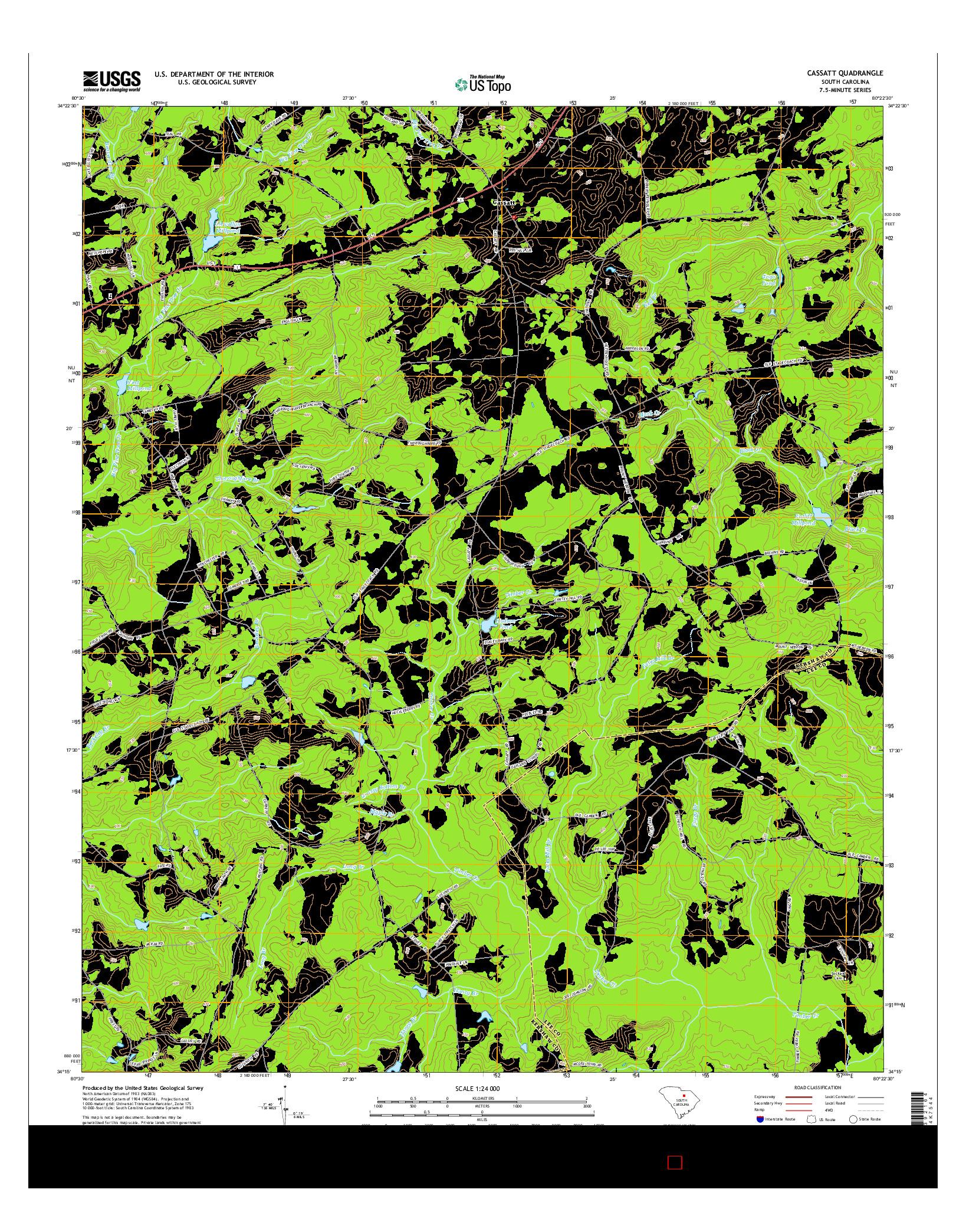 USGS US TOPO 7.5-MINUTE MAP FOR CASSATT, SC 2014