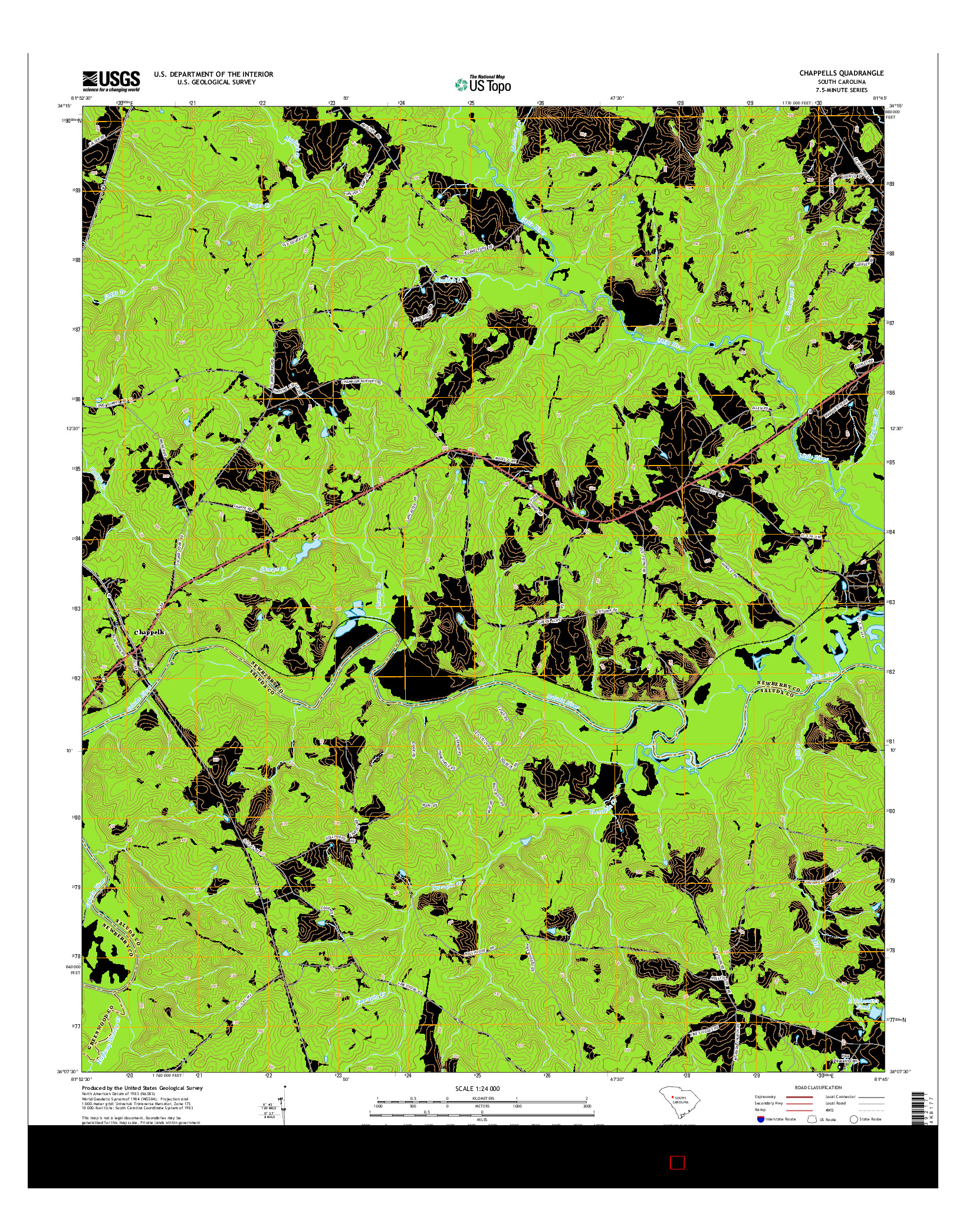 USGS US TOPO 7.5-MINUTE MAP FOR CHAPPELLS, SC 2014
