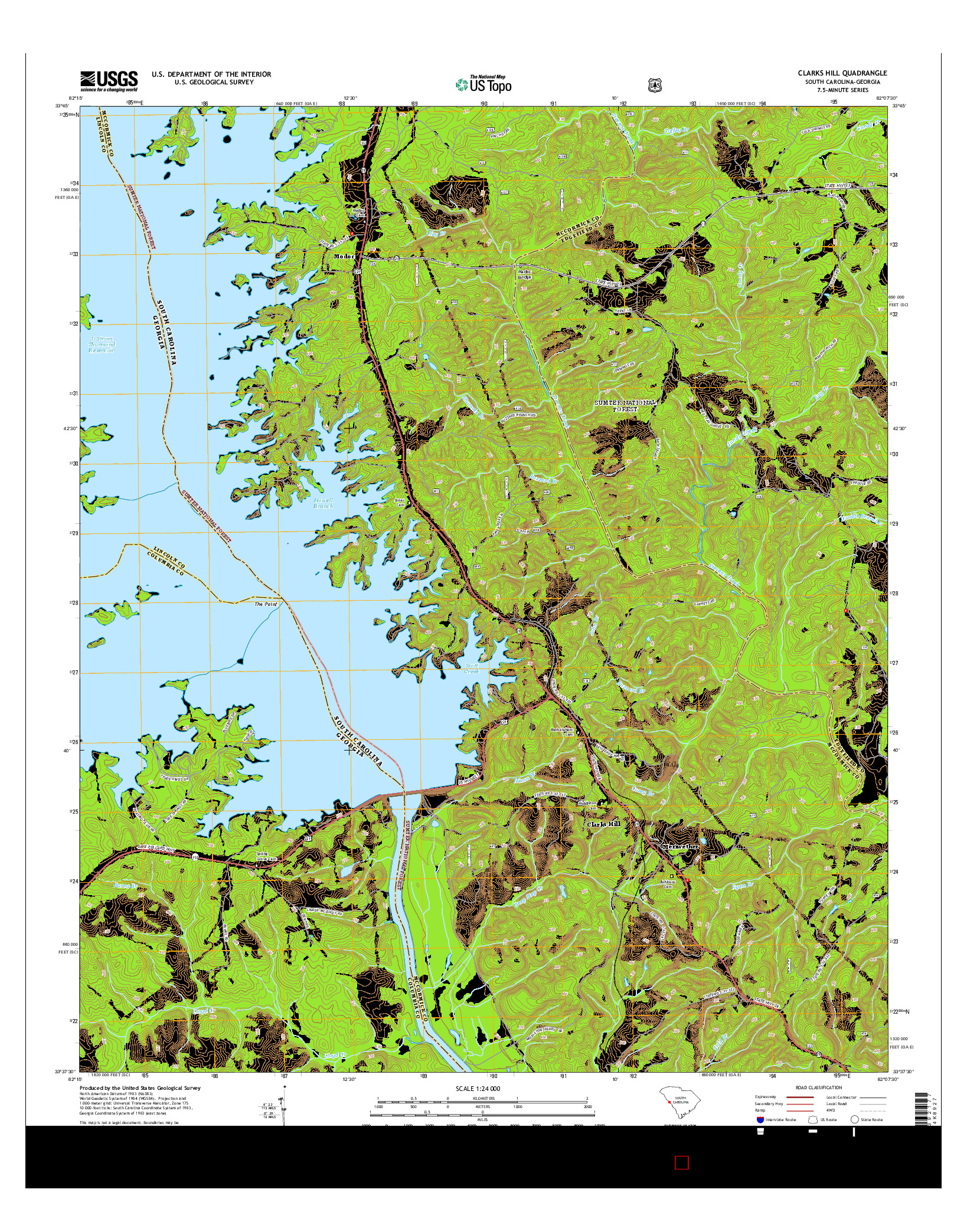 USGS US TOPO 7.5-MINUTE MAP FOR CLARKS HILL, SC-GA 2014