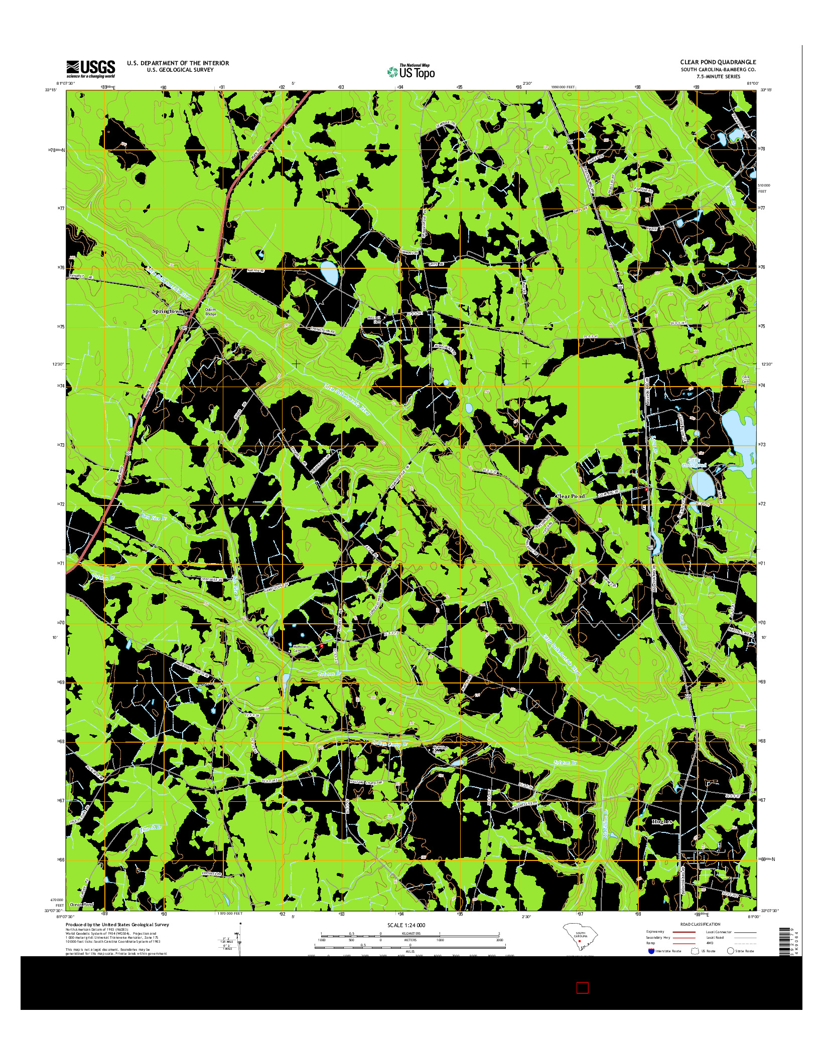 USGS US TOPO 7.5-MINUTE MAP FOR CLEAR POND, SC 2014