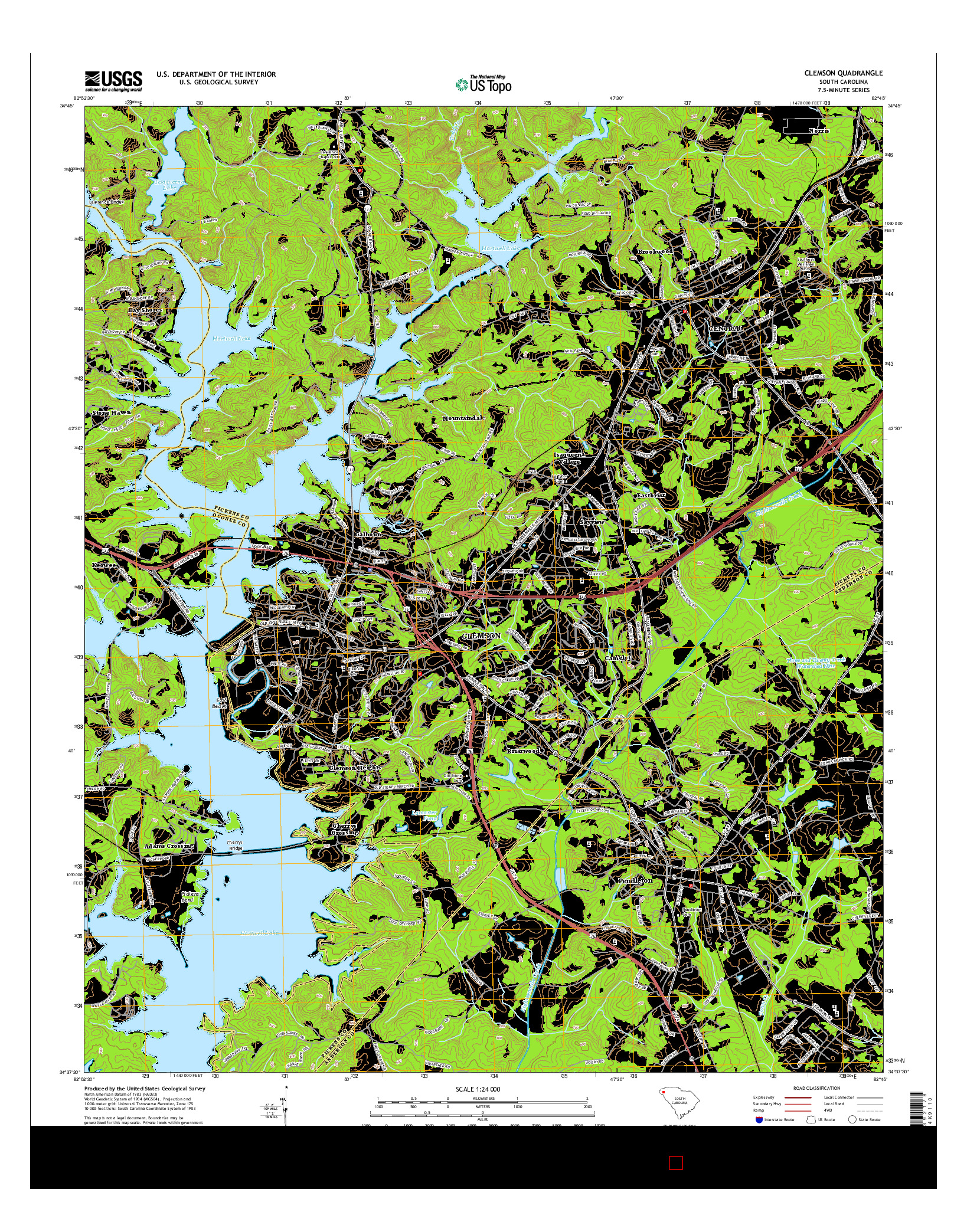 USGS US TOPO 7.5-MINUTE MAP FOR CLEMSON, SC 2014