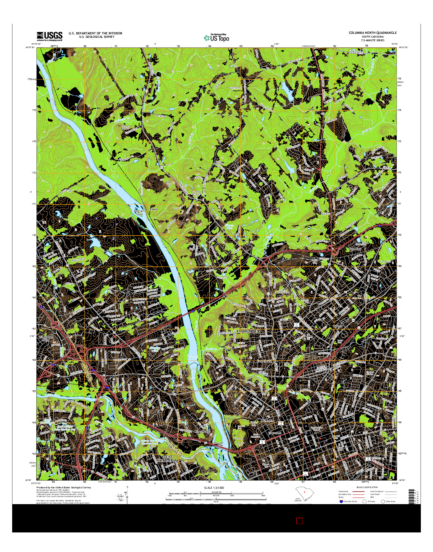 USGS US TOPO 7.5-MINUTE MAP FOR COLUMBIA NORTH, SC 2014