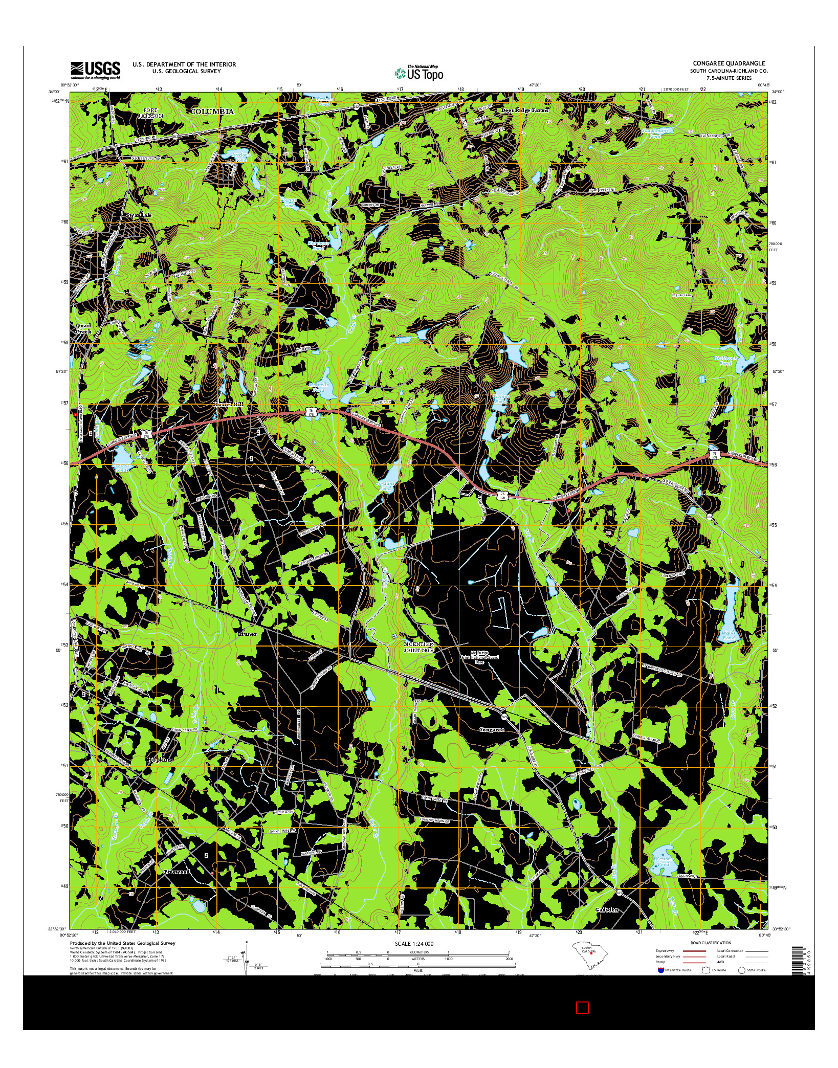 USGS US TOPO 7.5-MINUTE MAP FOR CONGAREE, SC 2014
