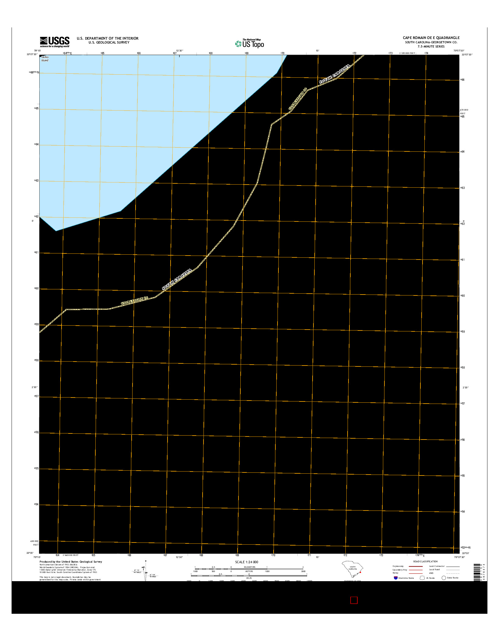 USGS US TOPO 7.5-MINUTE MAP FOR CAPE ROMAIN OE E, SC 2014