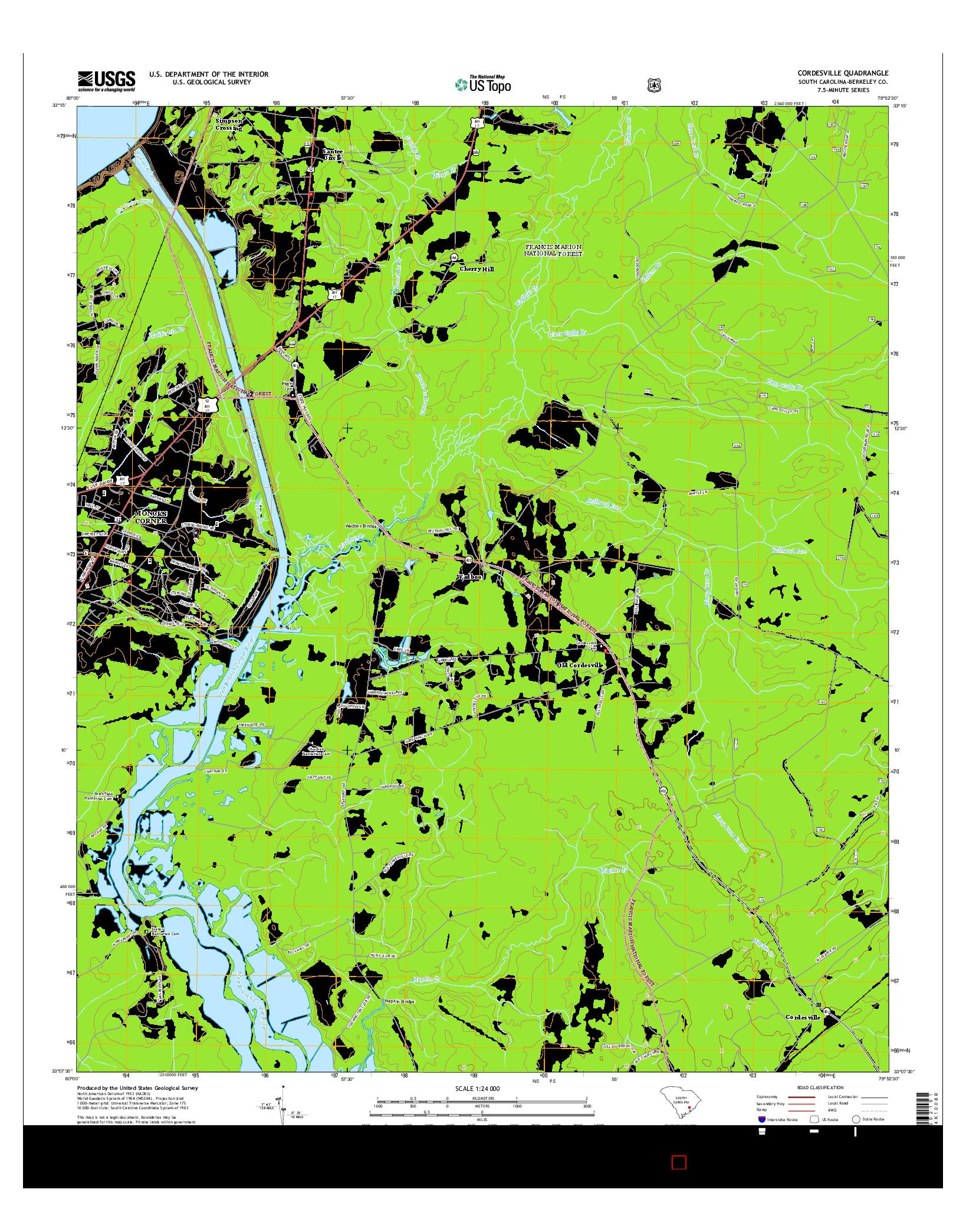 USGS US TOPO 7.5-MINUTE MAP FOR CORDESVILLE, SC 2014