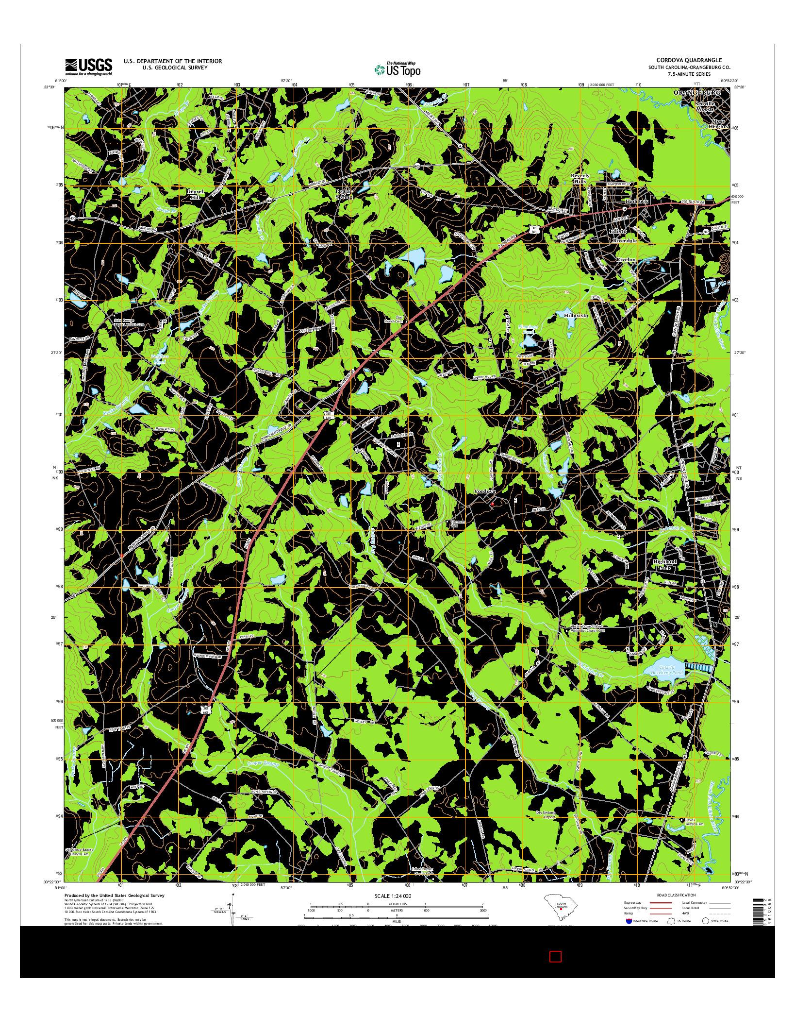 USGS US TOPO 7.5-MINUTE MAP FOR CORDOVA, SC 2014