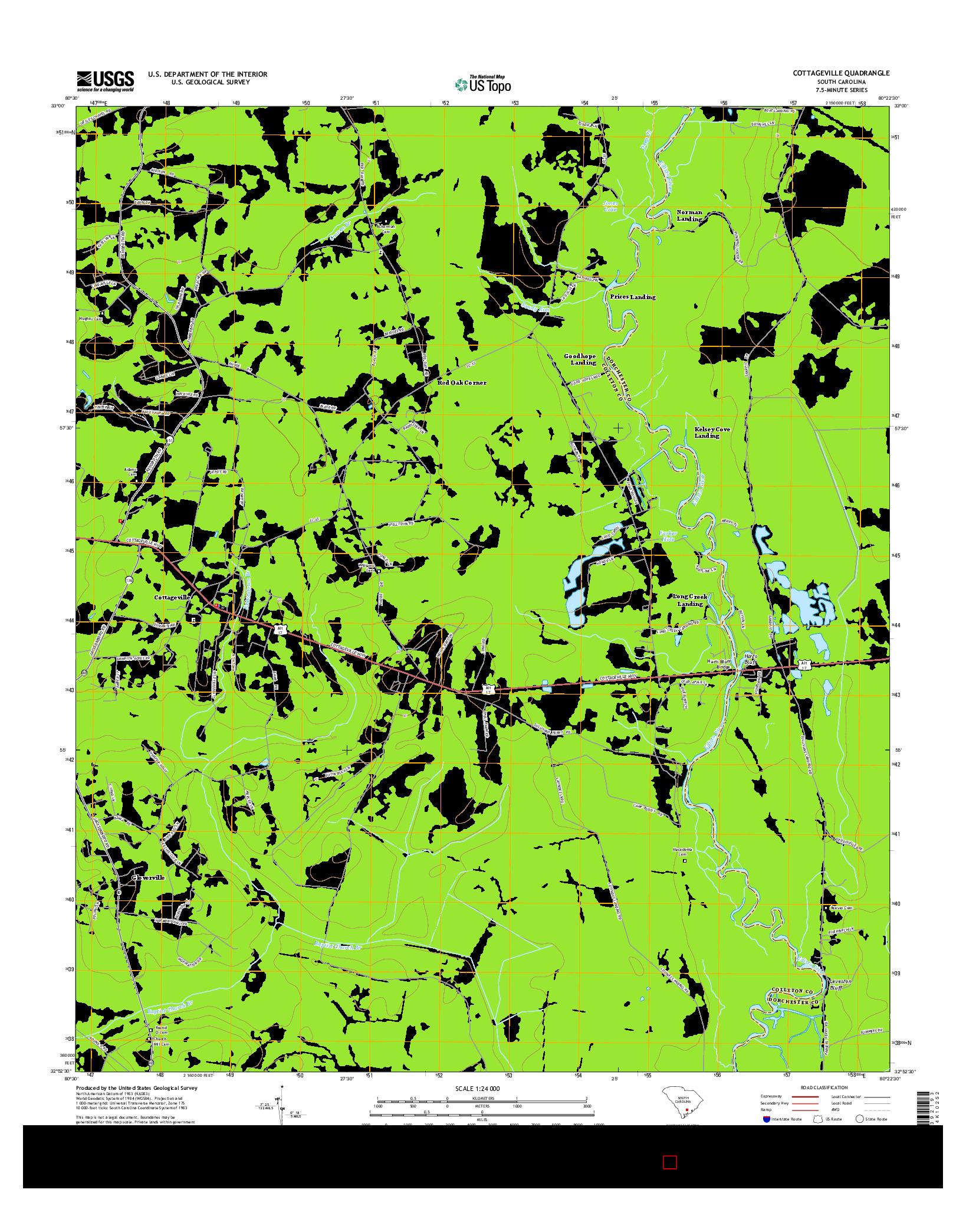 USGS US TOPO 7.5-MINUTE MAP FOR COTTAGEVILLE, SC 2014