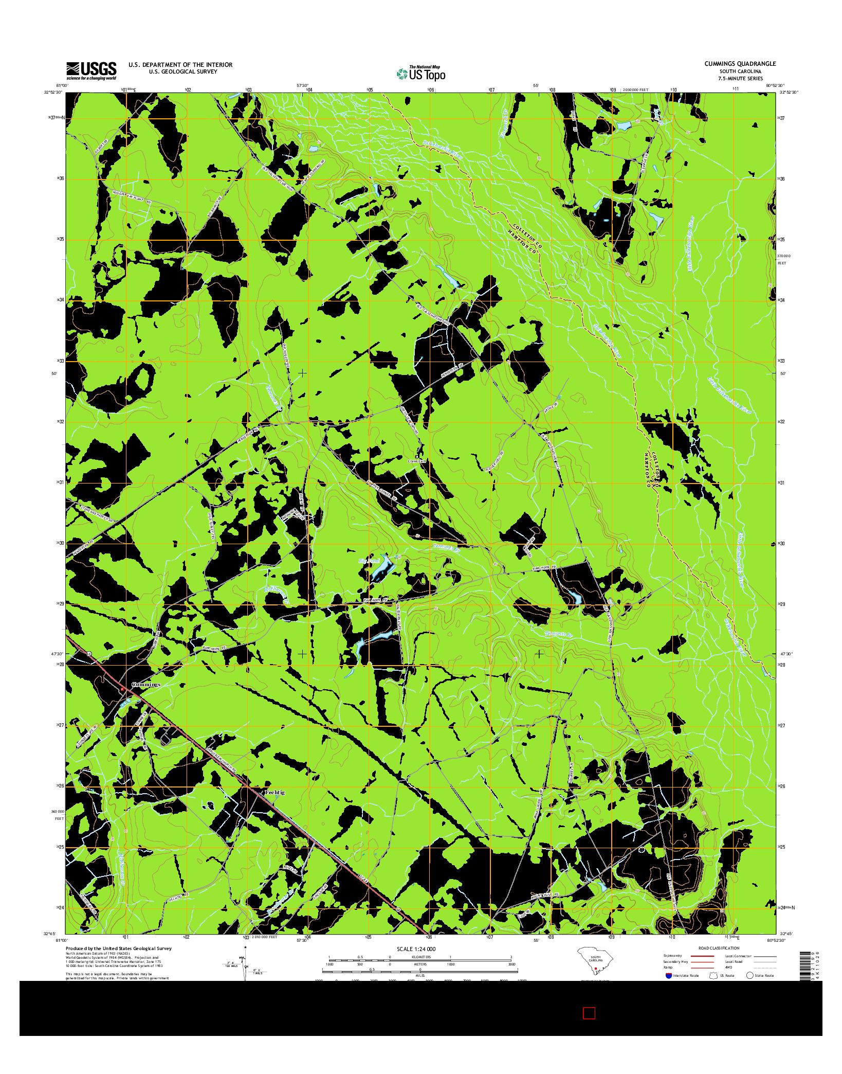 USGS US TOPO 7.5-MINUTE MAP FOR CUMMINGS, SC 2014