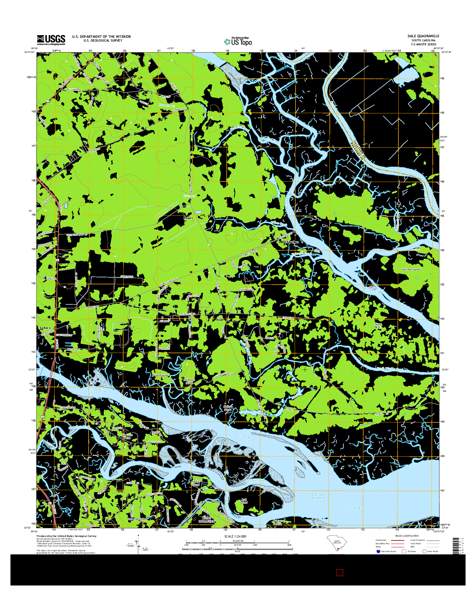USGS US TOPO 7.5-MINUTE MAP FOR DALE, SC 2014