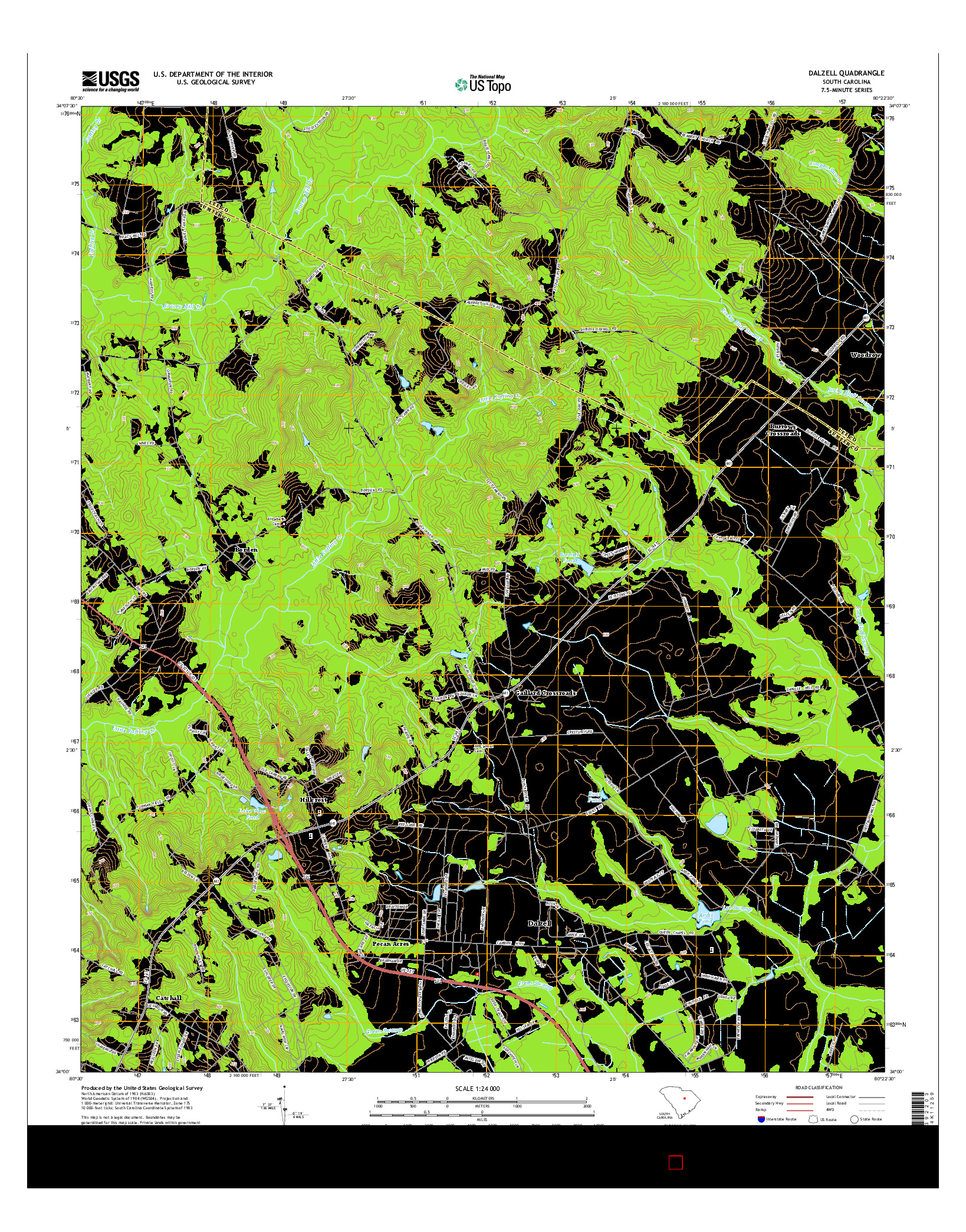 USGS US TOPO 7.5-MINUTE MAP FOR DALZELL, SC 2014