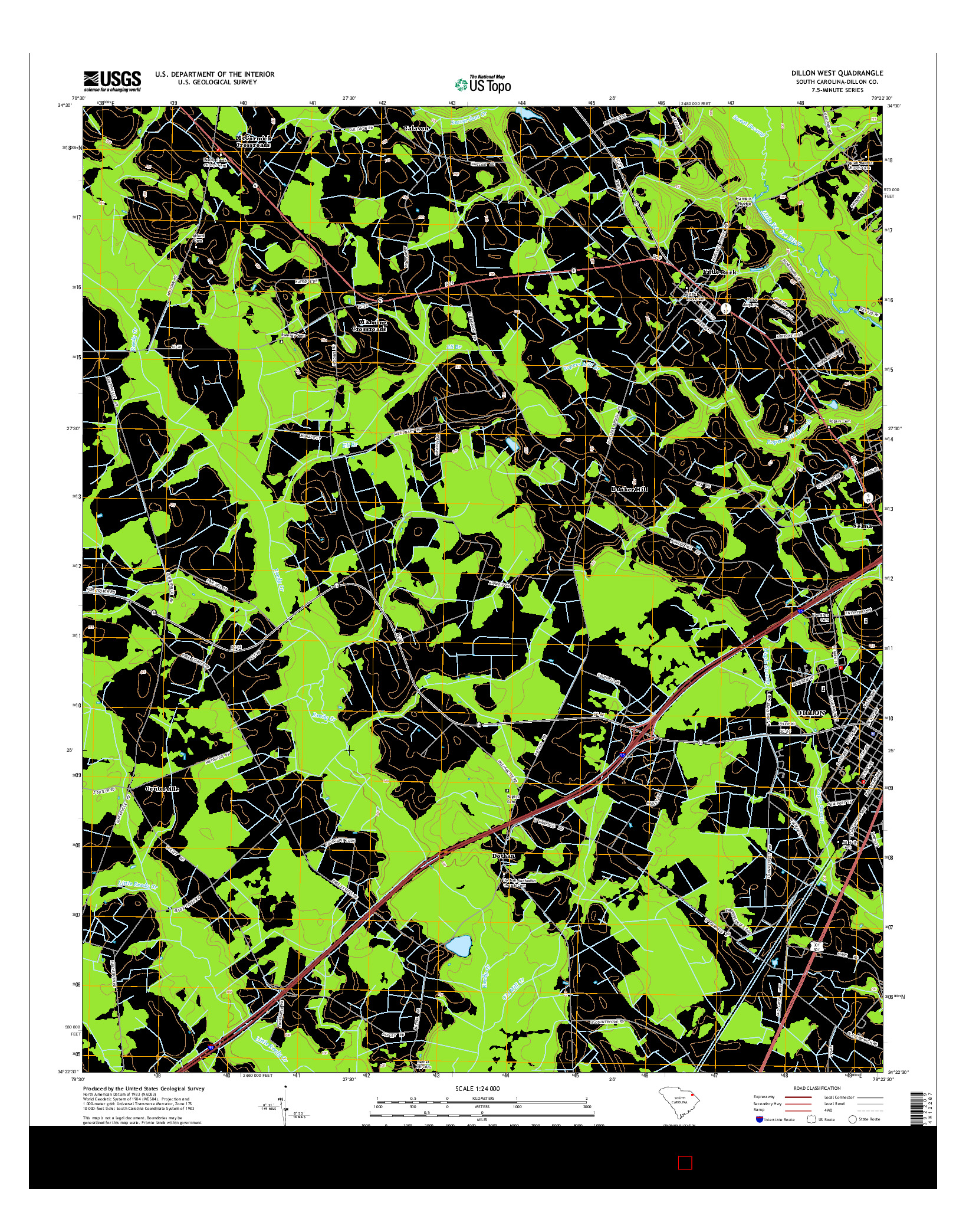 USGS US TOPO 7.5-MINUTE MAP FOR DILLON WEST, SC 2014