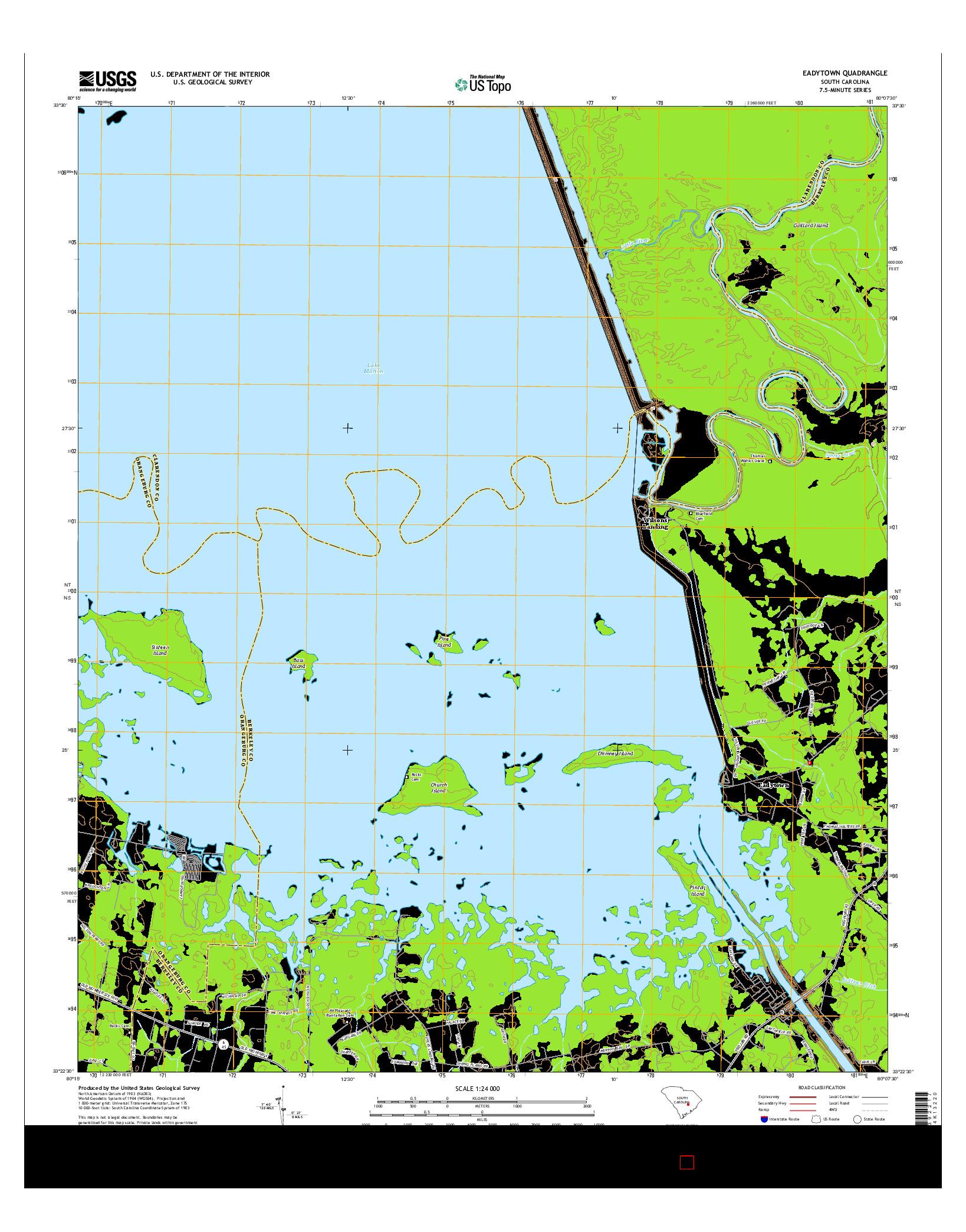 USGS US TOPO 7.5-MINUTE MAP FOR EADYTOWN, SC 2014