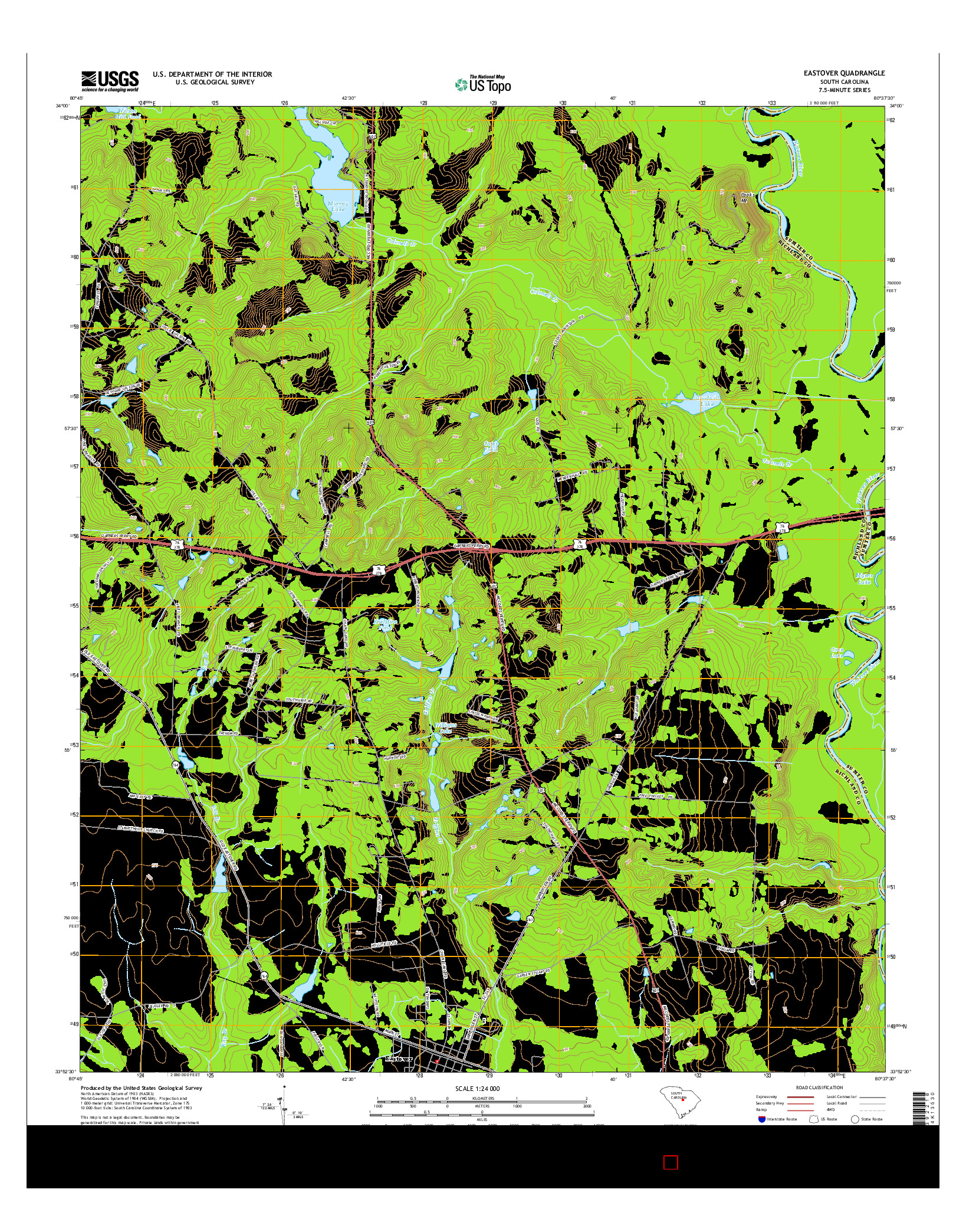 USGS US TOPO 7.5-MINUTE MAP FOR EASTOVER, SC 2014