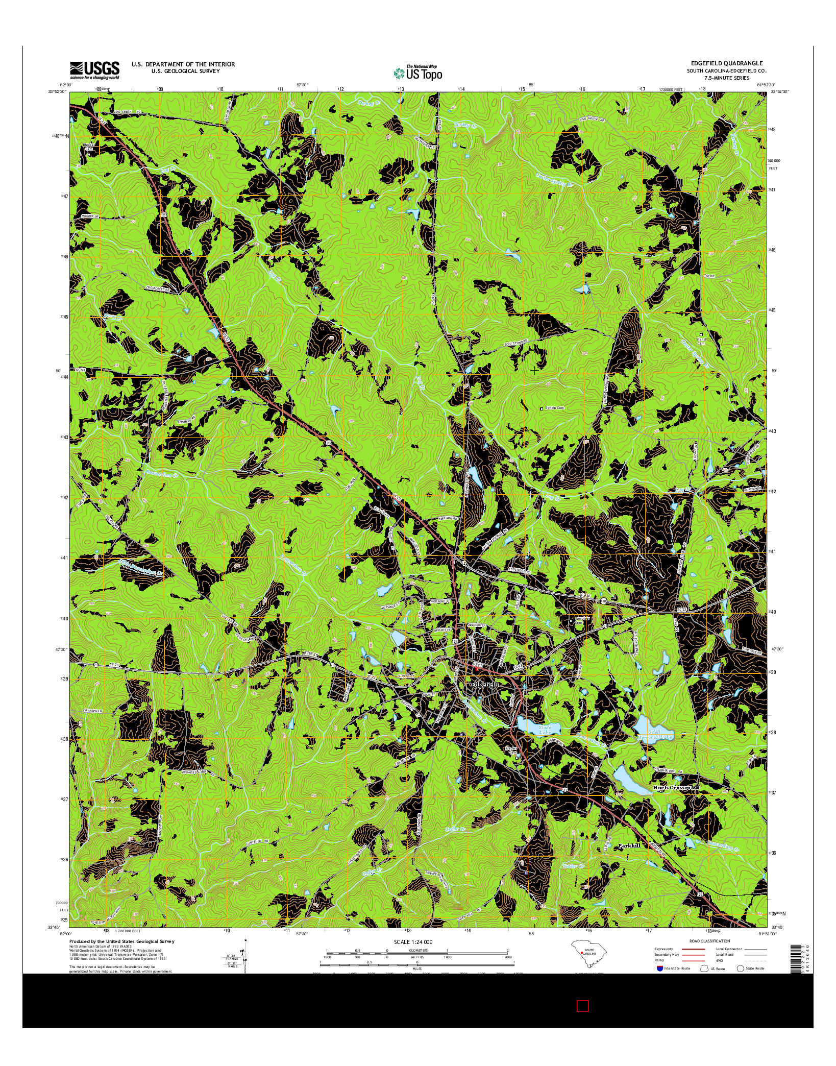 USGS US TOPO 7.5-MINUTE MAP FOR EDGEFIELD, SC 2014