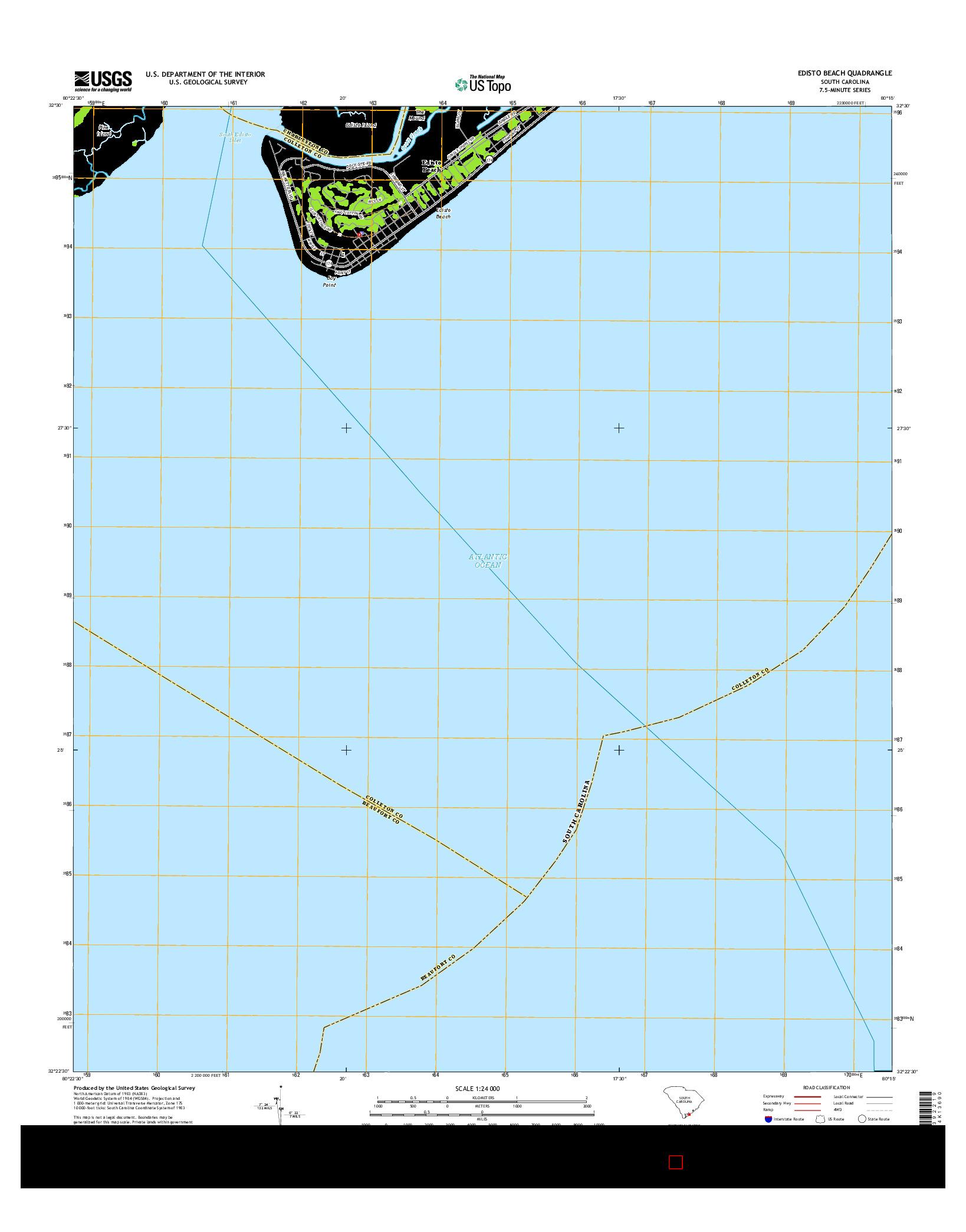 USGS US TOPO 7.5-MINUTE MAP FOR EDISTO BEACH, SC 2014