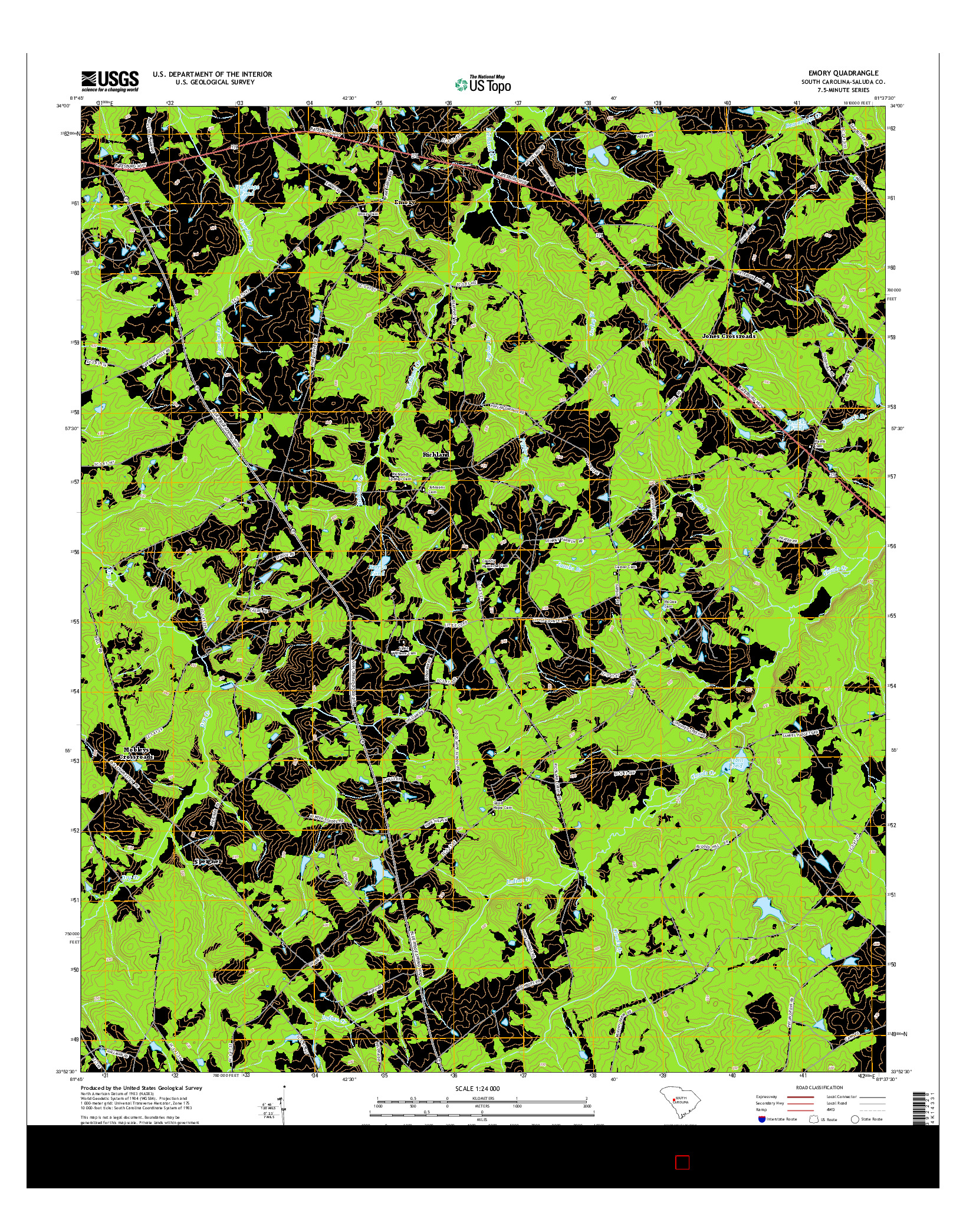 USGS US TOPO 7.5-MINUTE MAP FOR EMORY, SC 2014