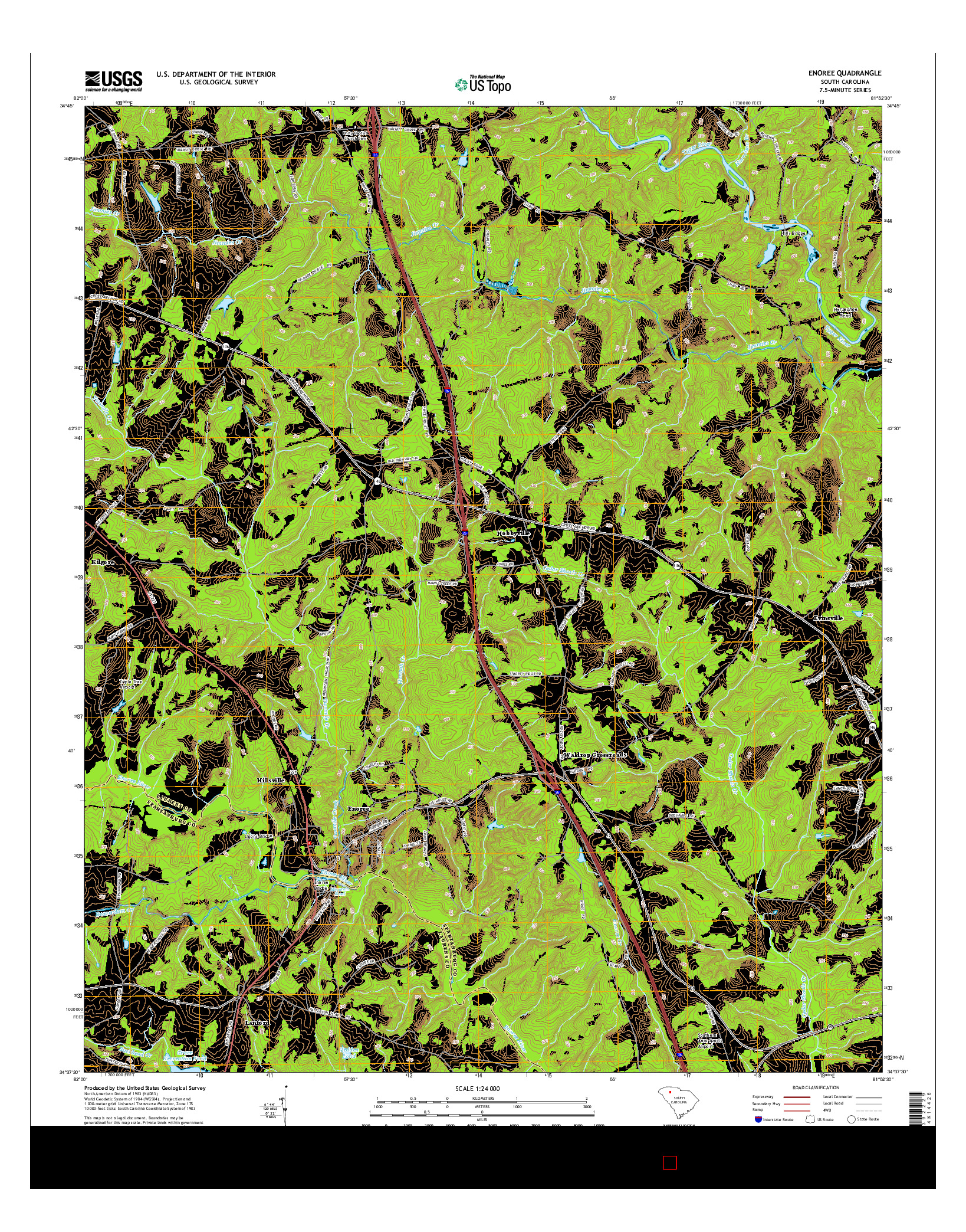 USGS US TOPO 7.5-MINUTE MAP FOR ENOREE, SC 2014