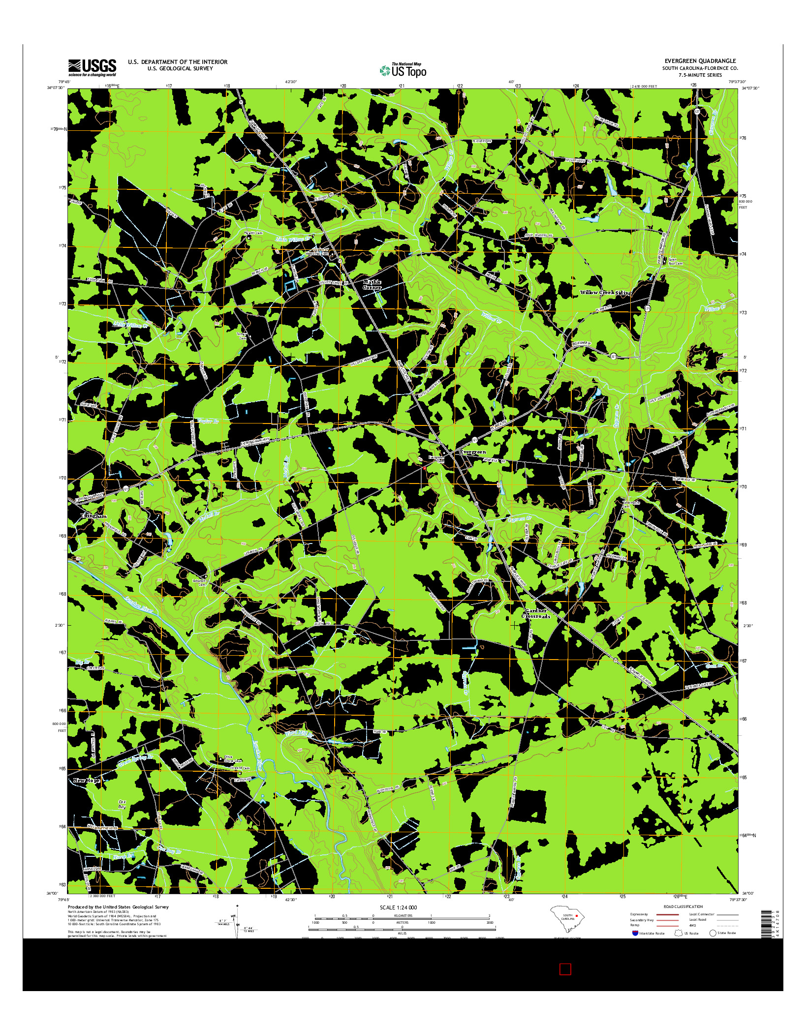 USGS US TOPO 7.5-MINUTE MAP FOR EVERGREEN, SC 2014