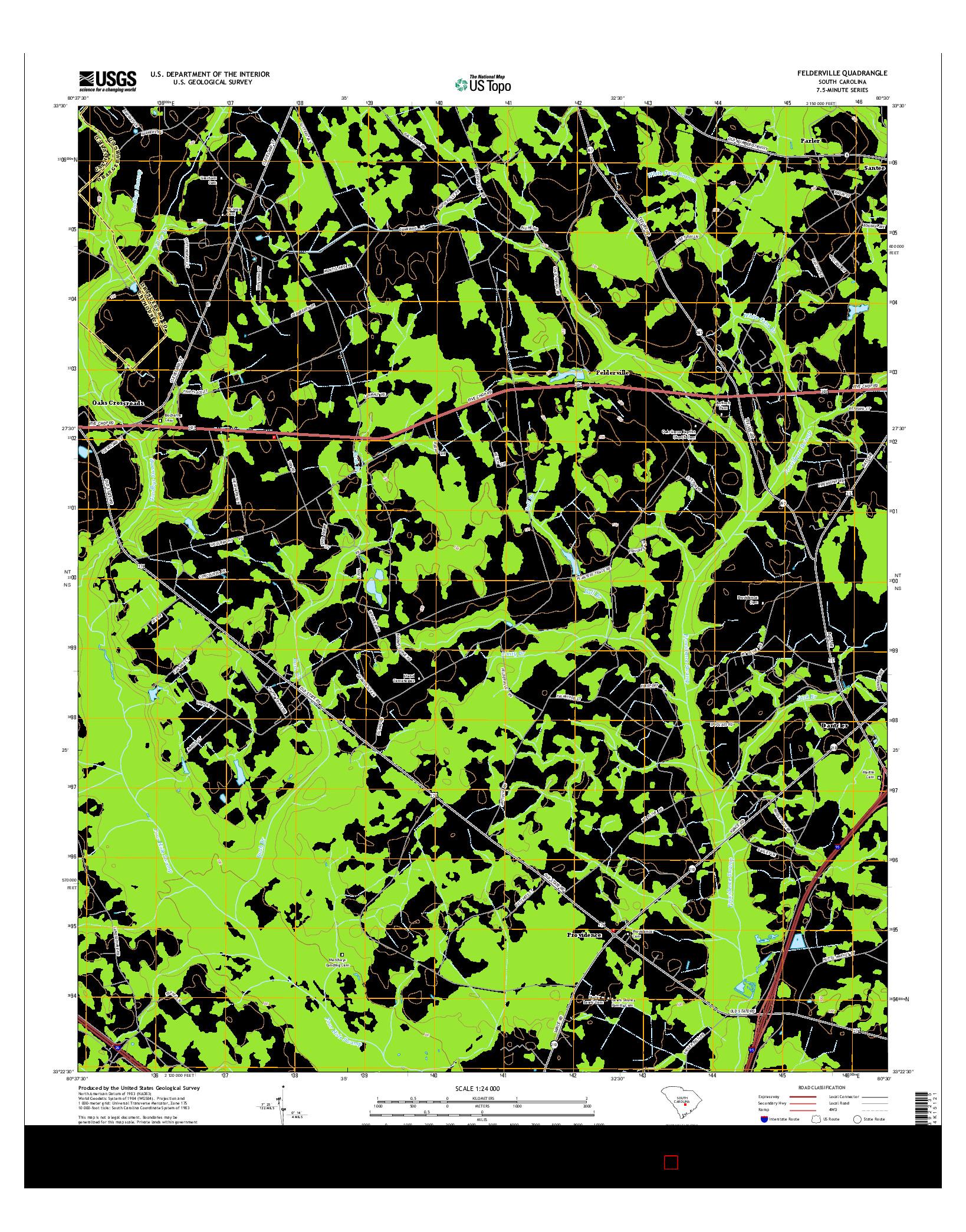 USGS US TOPO 7.5-MINUTE MAP FOR FELDERVILLE, SC 2014