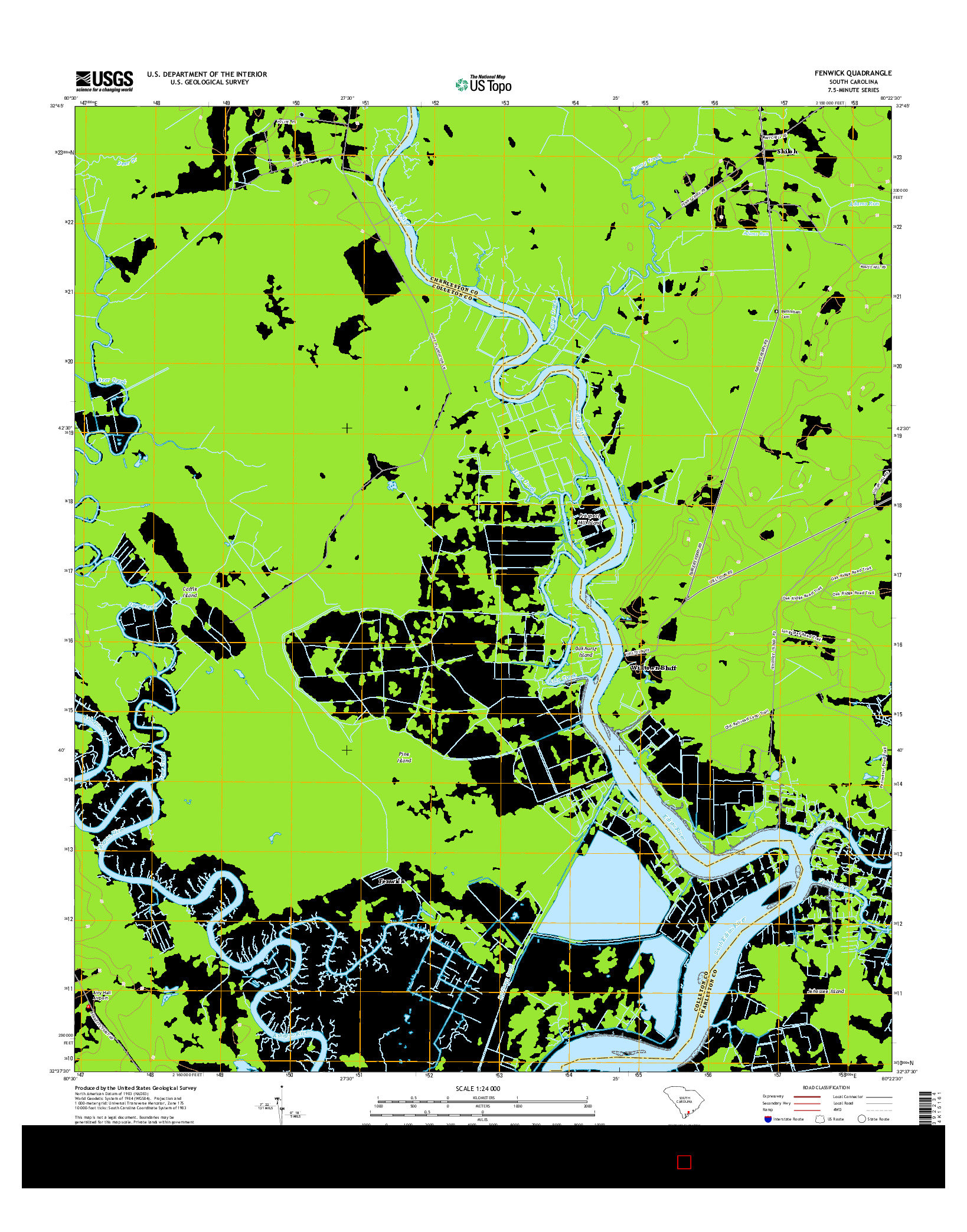 USGS US TOPO 7.5-MINUTE MAP FOR FENWICK, SC 2014