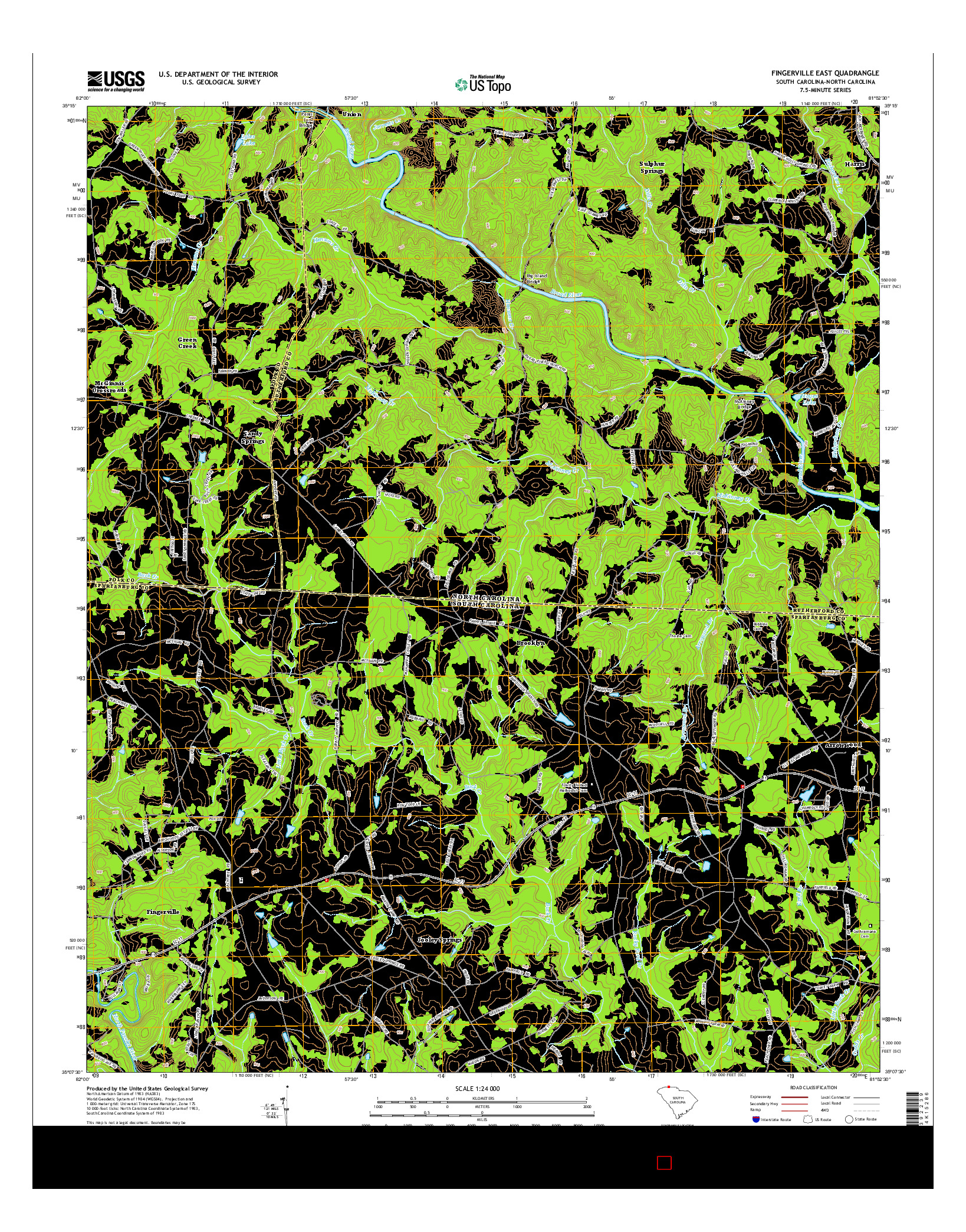 USGS US TOPO 7.5-MINUTE MAP FOR FINGERVILLE EAST, SC-NC 2014