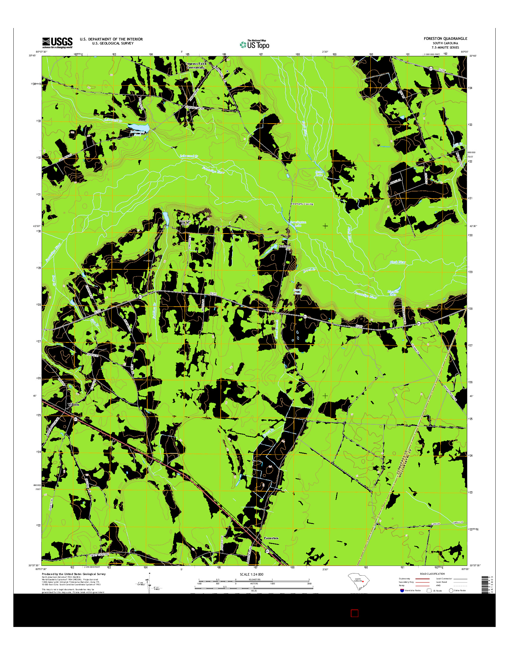 USGS US TOPO 7.5-MINUTE MAP FOR FORESTON, SC 2014