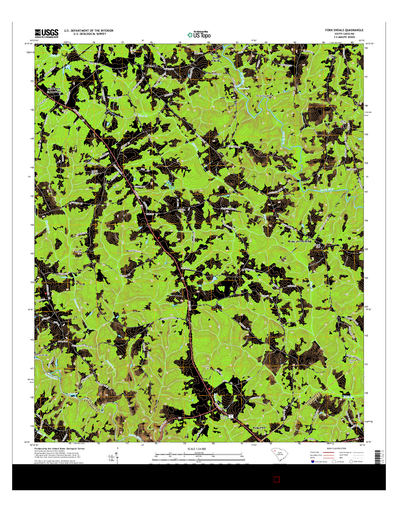 USGS US TOPO 7.5-MINUTE MAP FOR FORK SHOALS, SC 2014