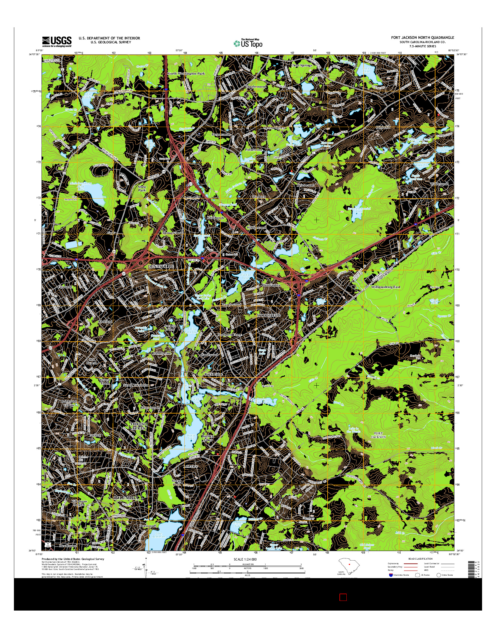 USGS US TOPO 7.5-MINUTE MAP FOR FORT JACKSON NORTH, SC 2014