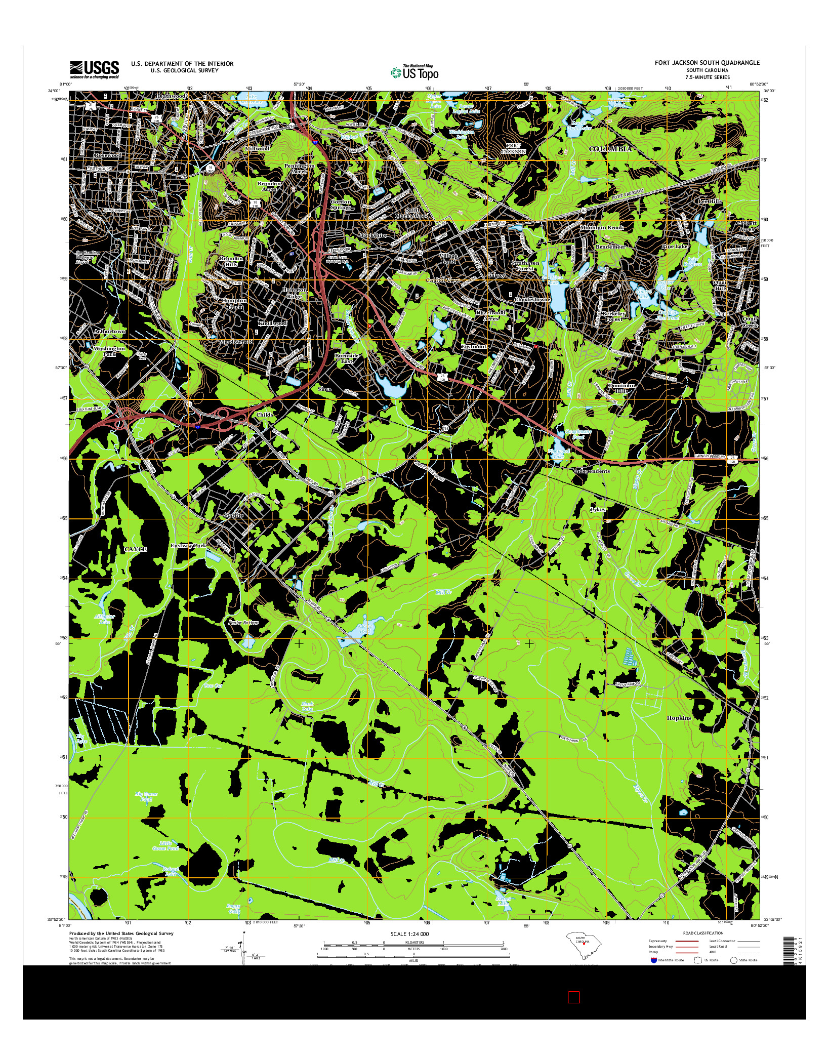 USGS US TOPO 7.5-MINUTE MAP FOR FORT JACKSON SOUTH, SC 2014