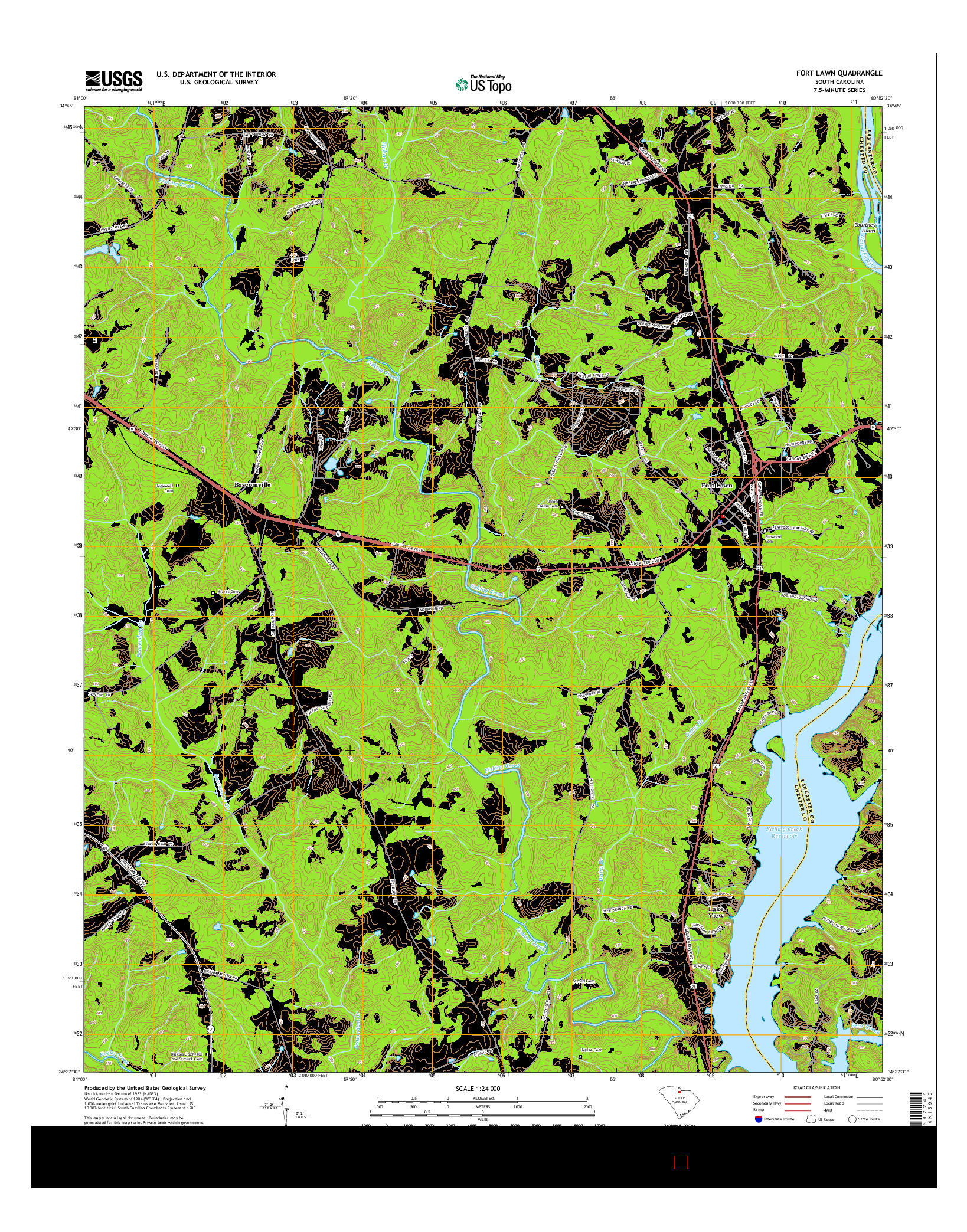 USGS US TOPO 7.5-MINUTE MAP FOR FORT LAWN, SC 2014