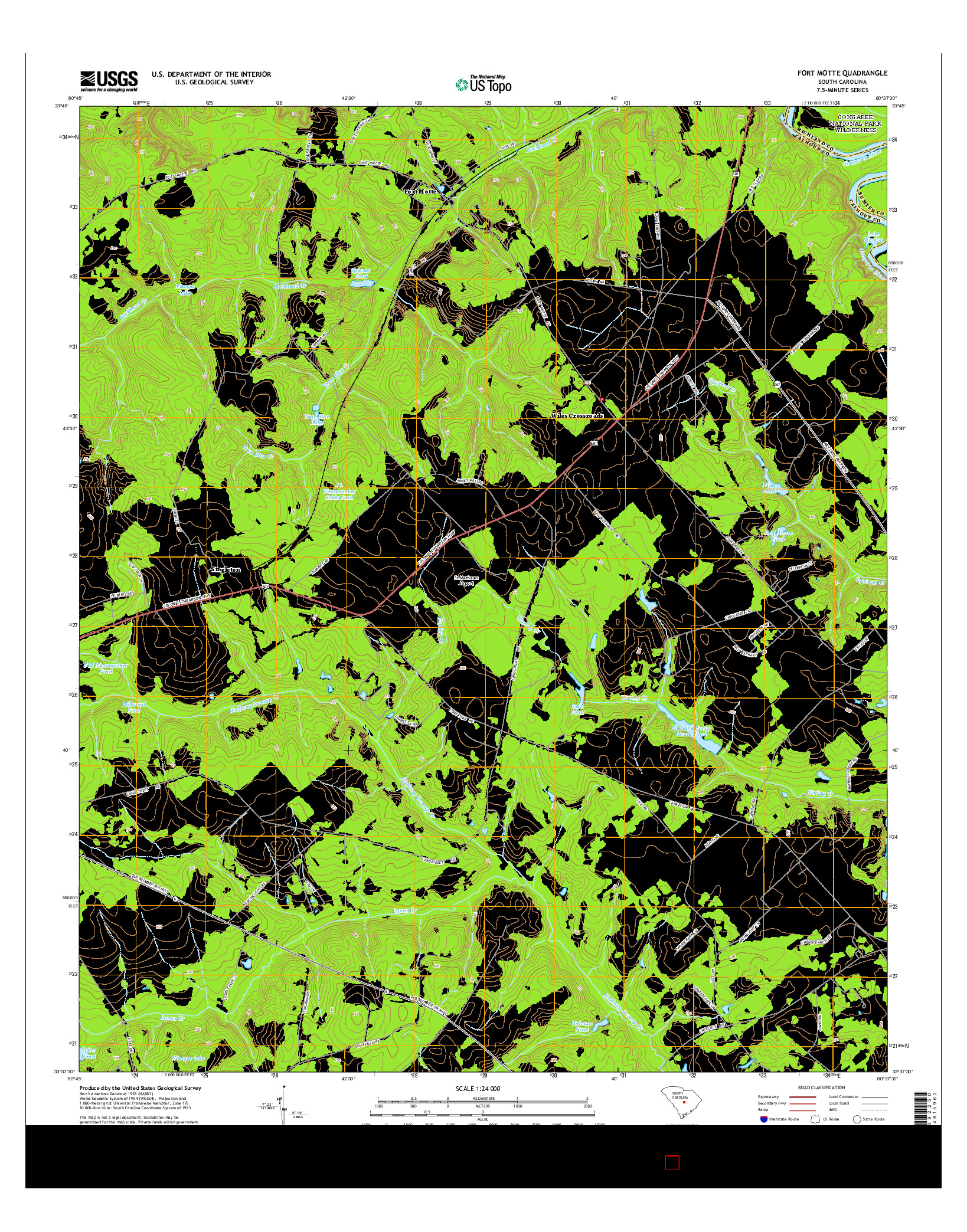 USGS US TOPO 7.5-MINUTE MAP FOR FORT MOTTE, SC 2014