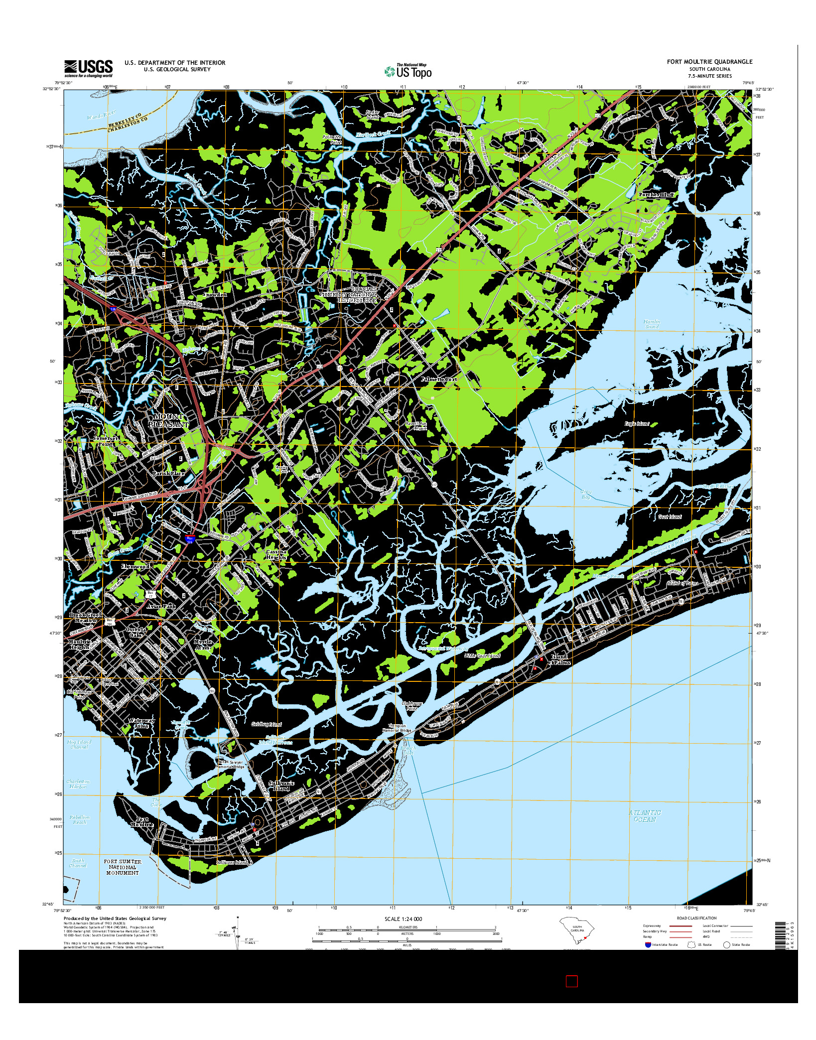 USGS US TOPO 7.5-MINUTE MAP FOR FORT MOULTRIE, SC 2014