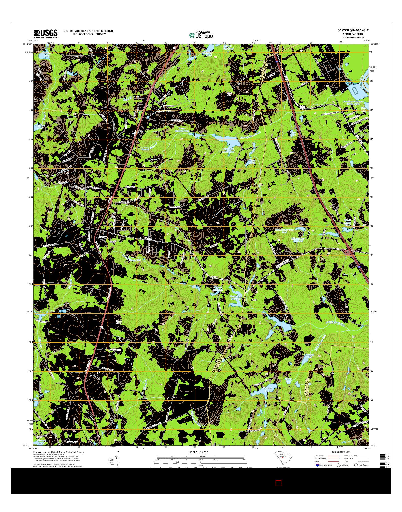 USGS US TOPO 7.5-MINUTE MAP FOR GASTON, SC 2014