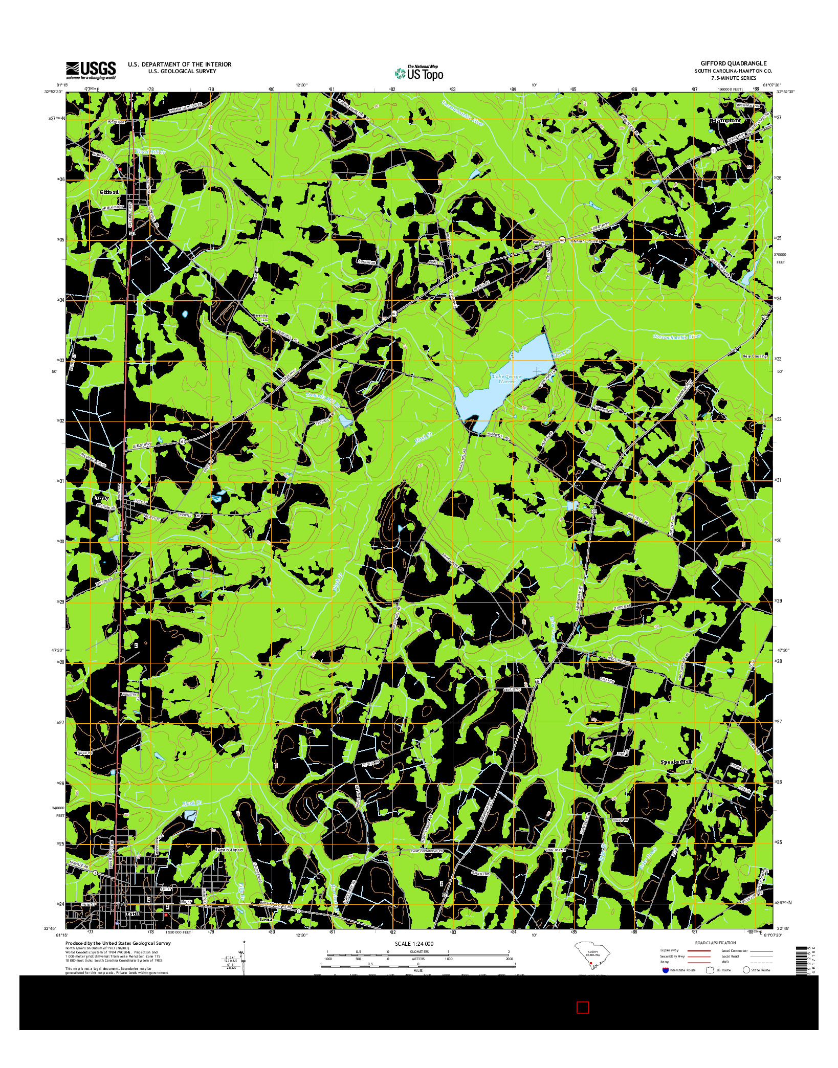 USGS US TOPO 7.5-MINUTE MAP FOR GIFFORD, SC 2014