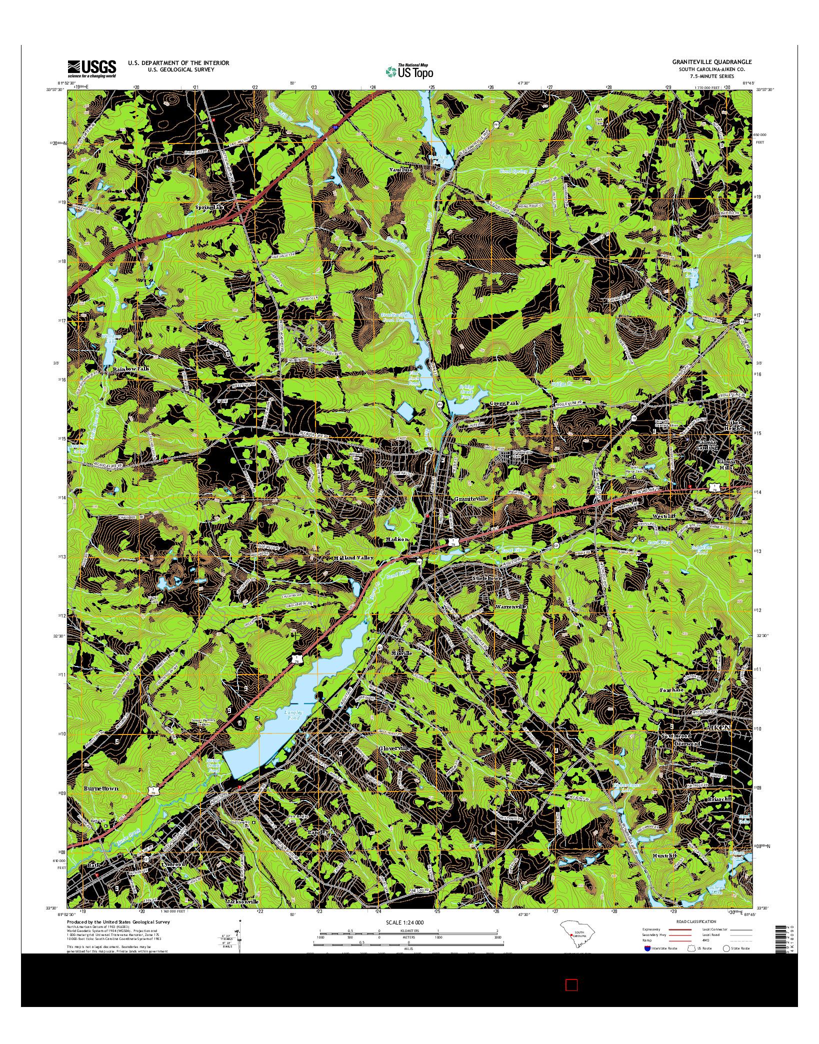 USGS US TOPO 7.5-MINUTE MAP FOR GRANITEVILLE, SC 2014