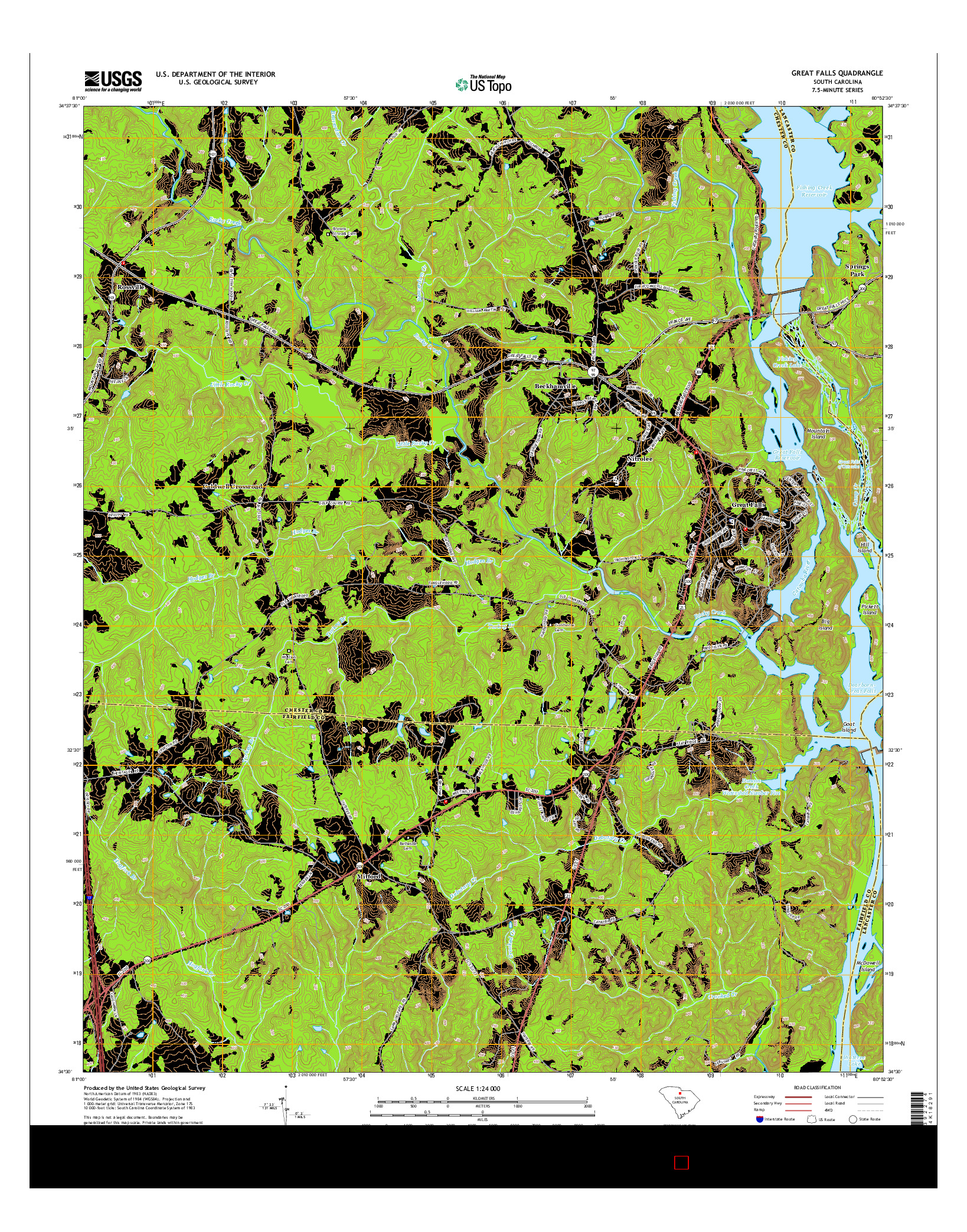 USGS US TOPO 7.5-MINUTE MAP FOR GREAT FALLS, SC 2014