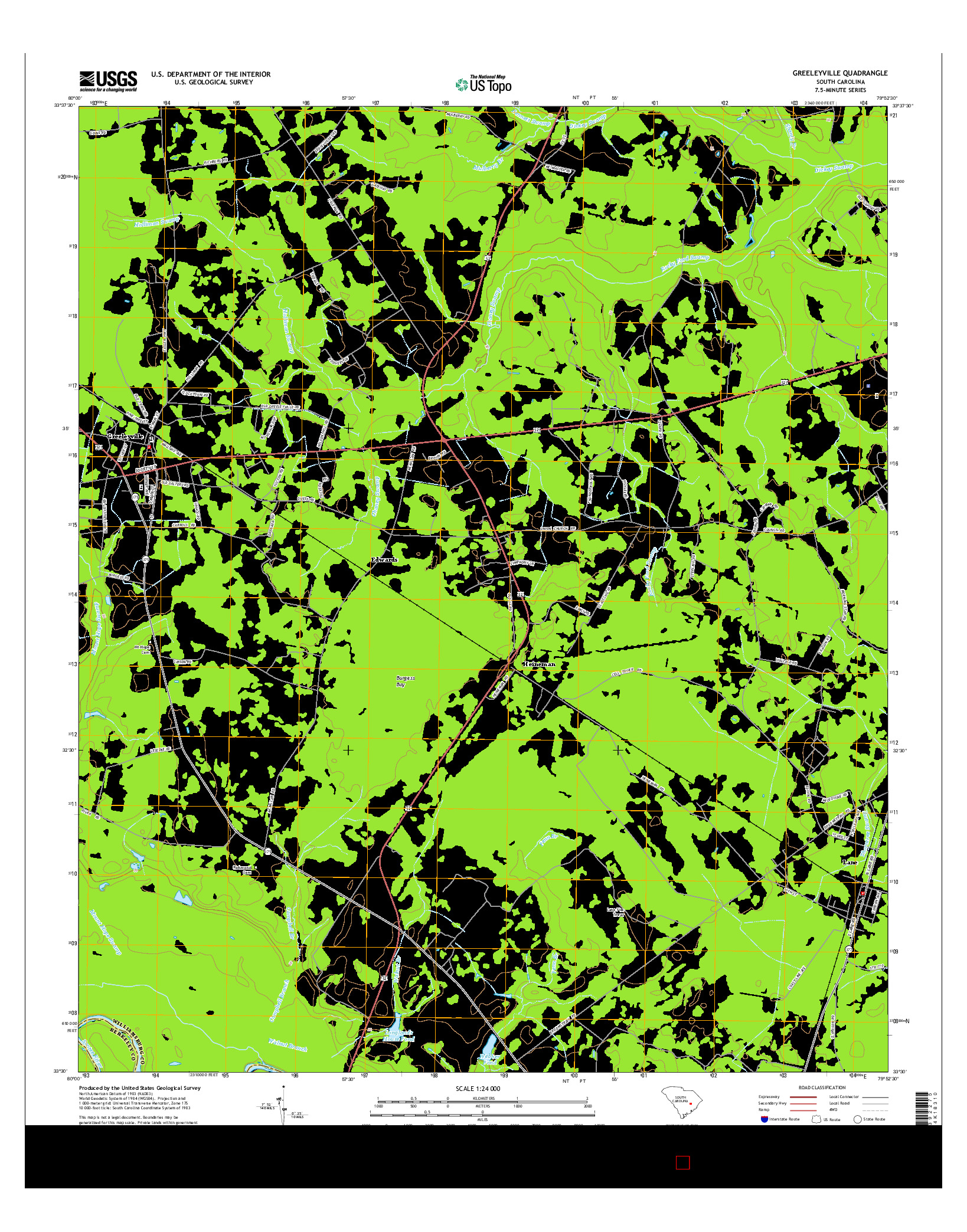 USGS US TOPO 7.5-MINUTE MAP FOR GREELEYVILLE, SC 2014