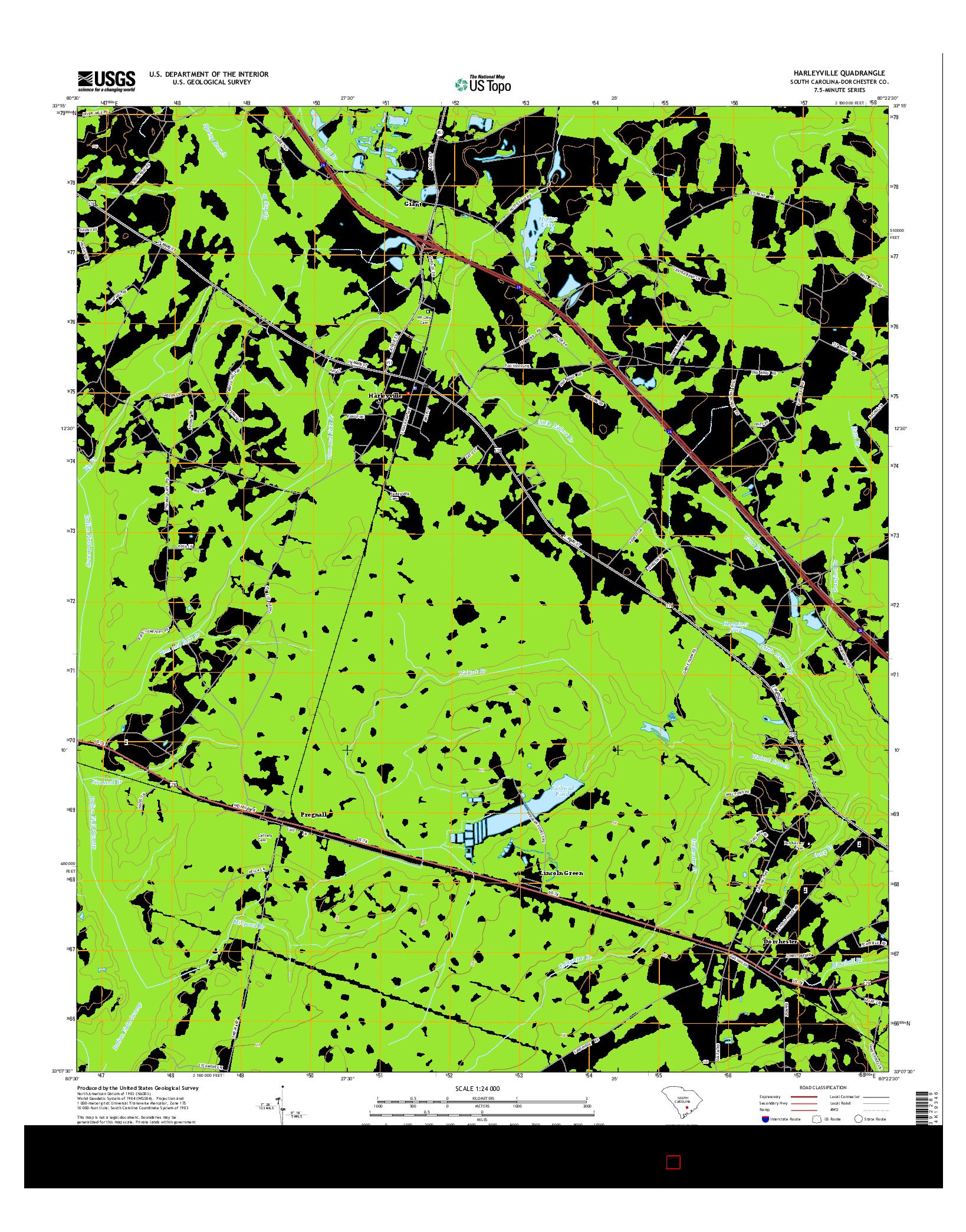 USGS US TOPO 7.5-MINUTE MAP FOR HARLEYVILLE, SC 2014