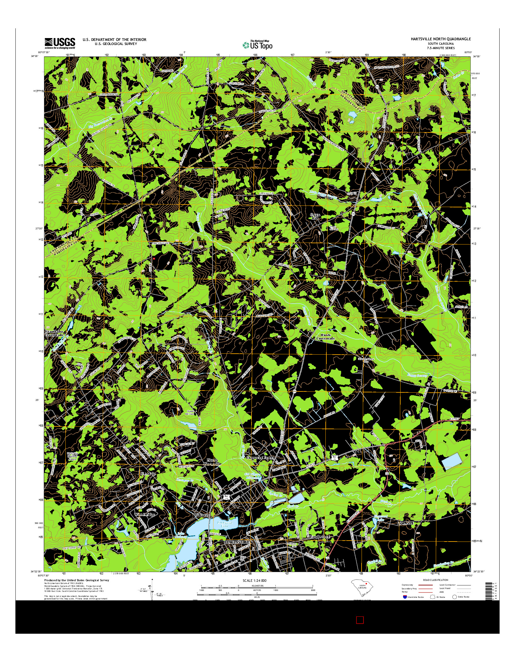 USGS US TOPO 7.5-MINUTE MAP FOR HARTSVILLE NORTH, SC 2014